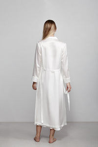 Double breasted silk robe dressing gown, ivory white, back view
