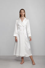 Double breasted silk robe dressing gown, ivory white, front view