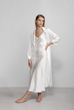 Double breasted silk robe dressing gown, ivory white, side view