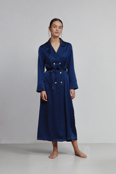 Double Breasted Robe, Navy Pinstripe, Front