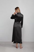 Double breasted silk robe dressing gown, black, back view