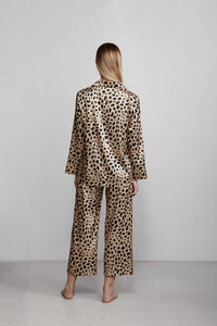 Double breasted silk pyjama shirt top, leopard print, back view