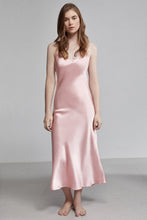 Silk Pyjama Long V Neck Slip Dress, Rose pink, Front