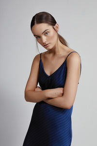 Long V Neck Slip Dress, Navy Pinstripe, Close Up