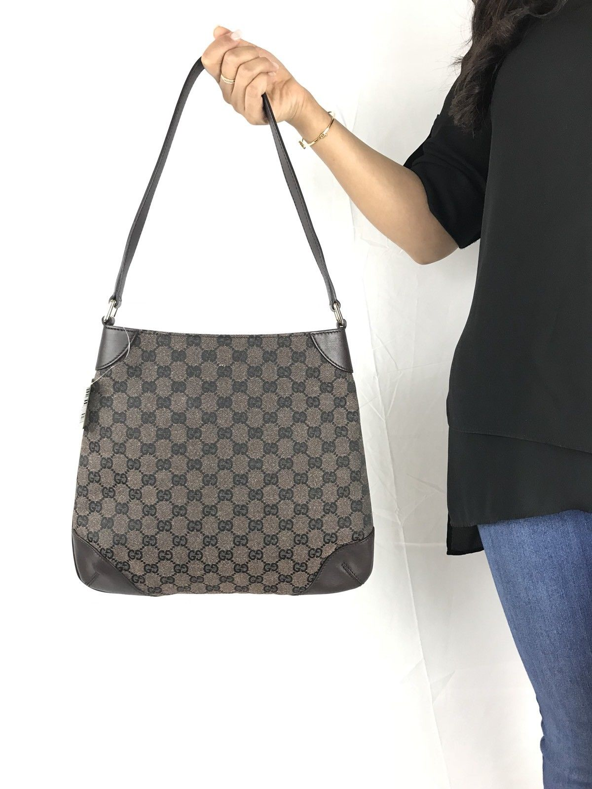 ab71a57520 GUCCI BROWN CANVAS LEATHER BAG Costco limited edition