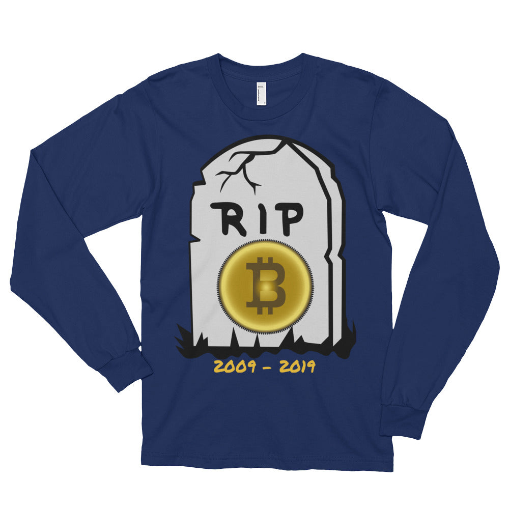 Bitcoin R.I.P Long sleeve t-shirt (unisex) - ShoppiZone.com