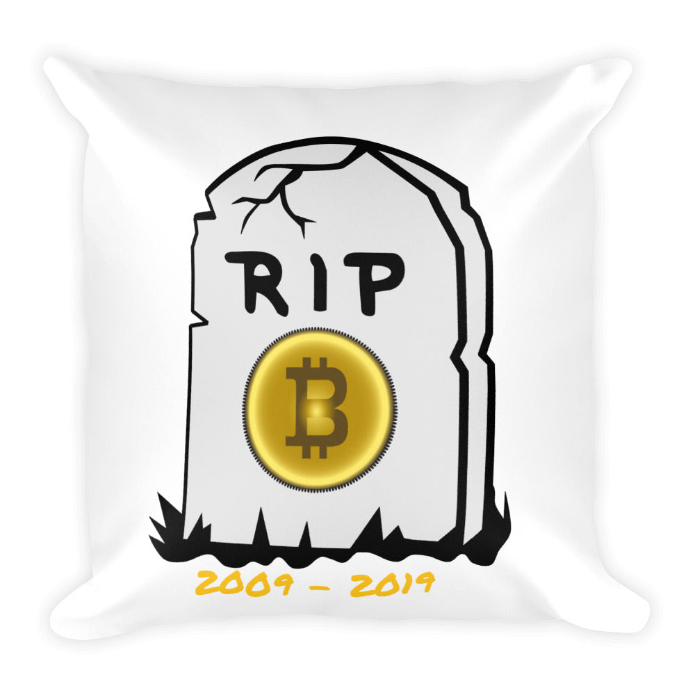 Bitcoin R.I.P Square Pillow - ShoppiZone.com