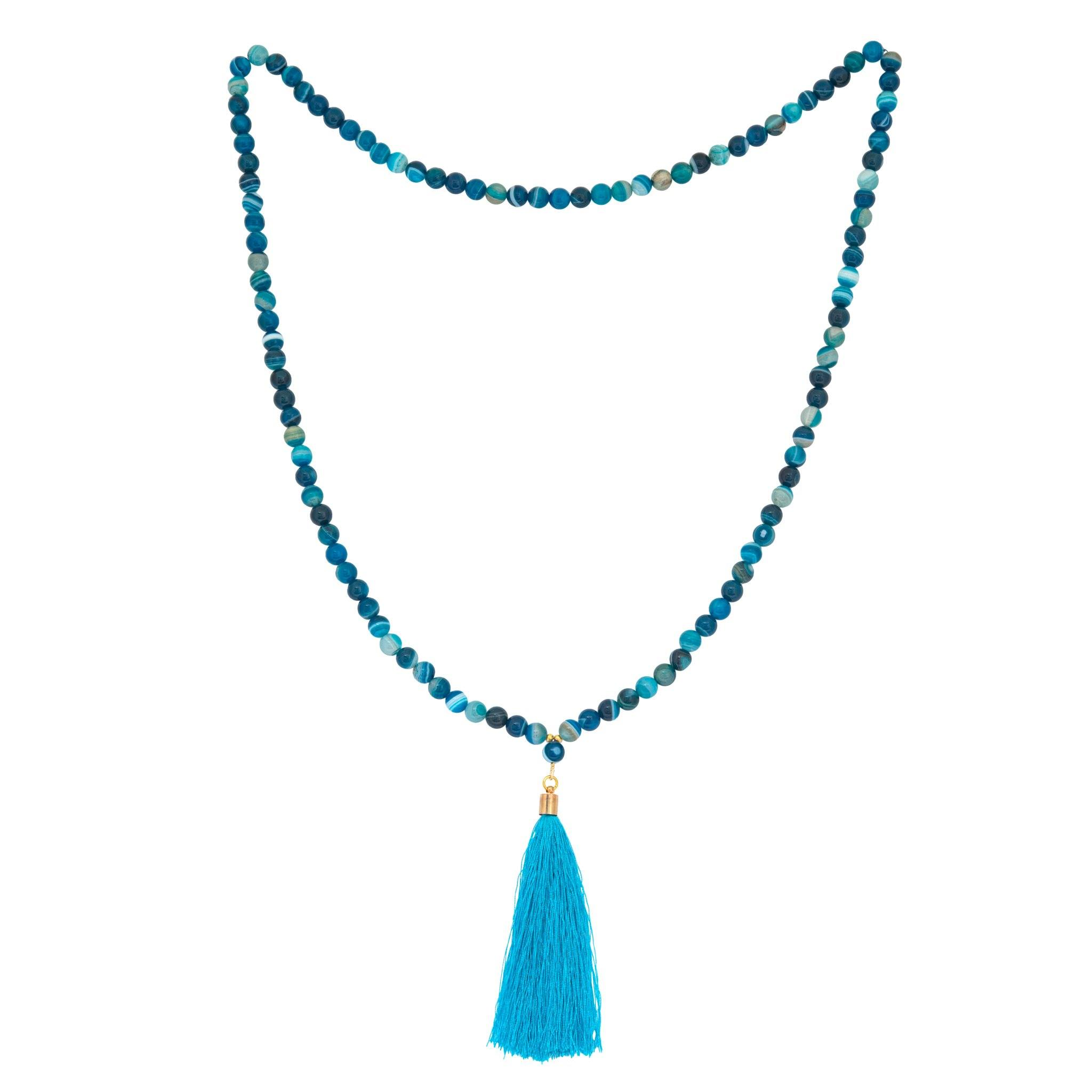 AGA blue agate long tassel necklace