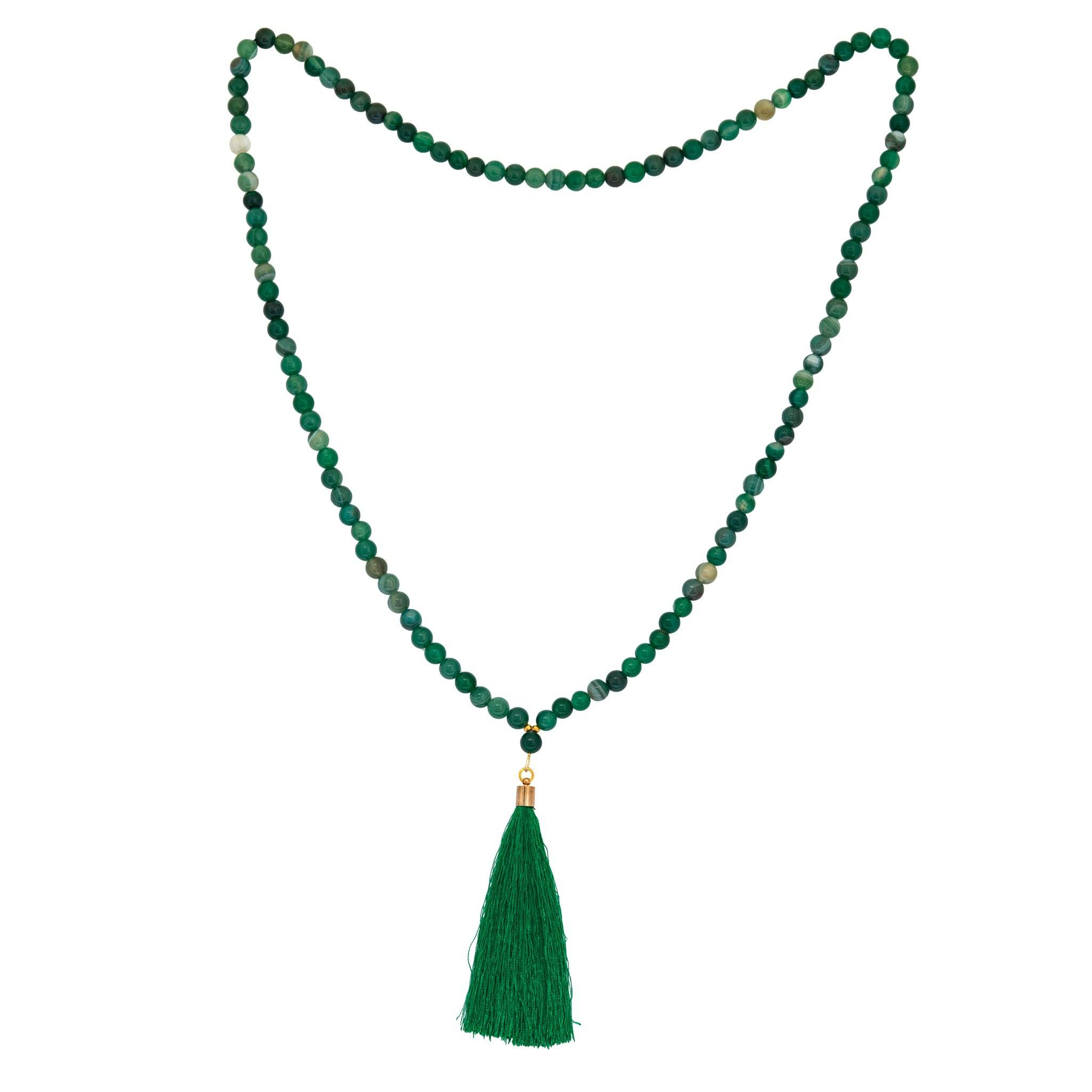 AGA green agate long tassel necklace - MadamSiam
