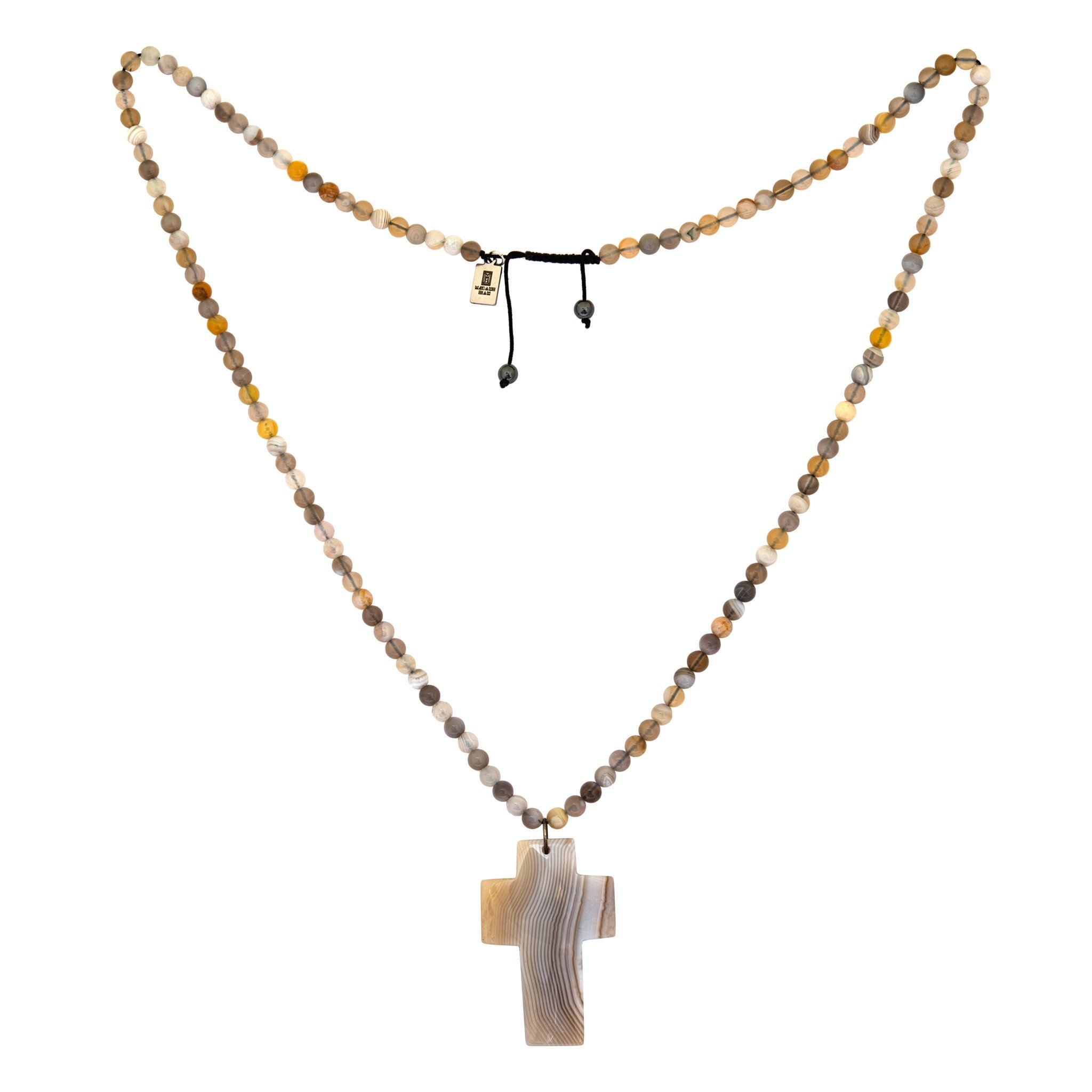 BAHIA grey agate cross necklace - MadamSiam