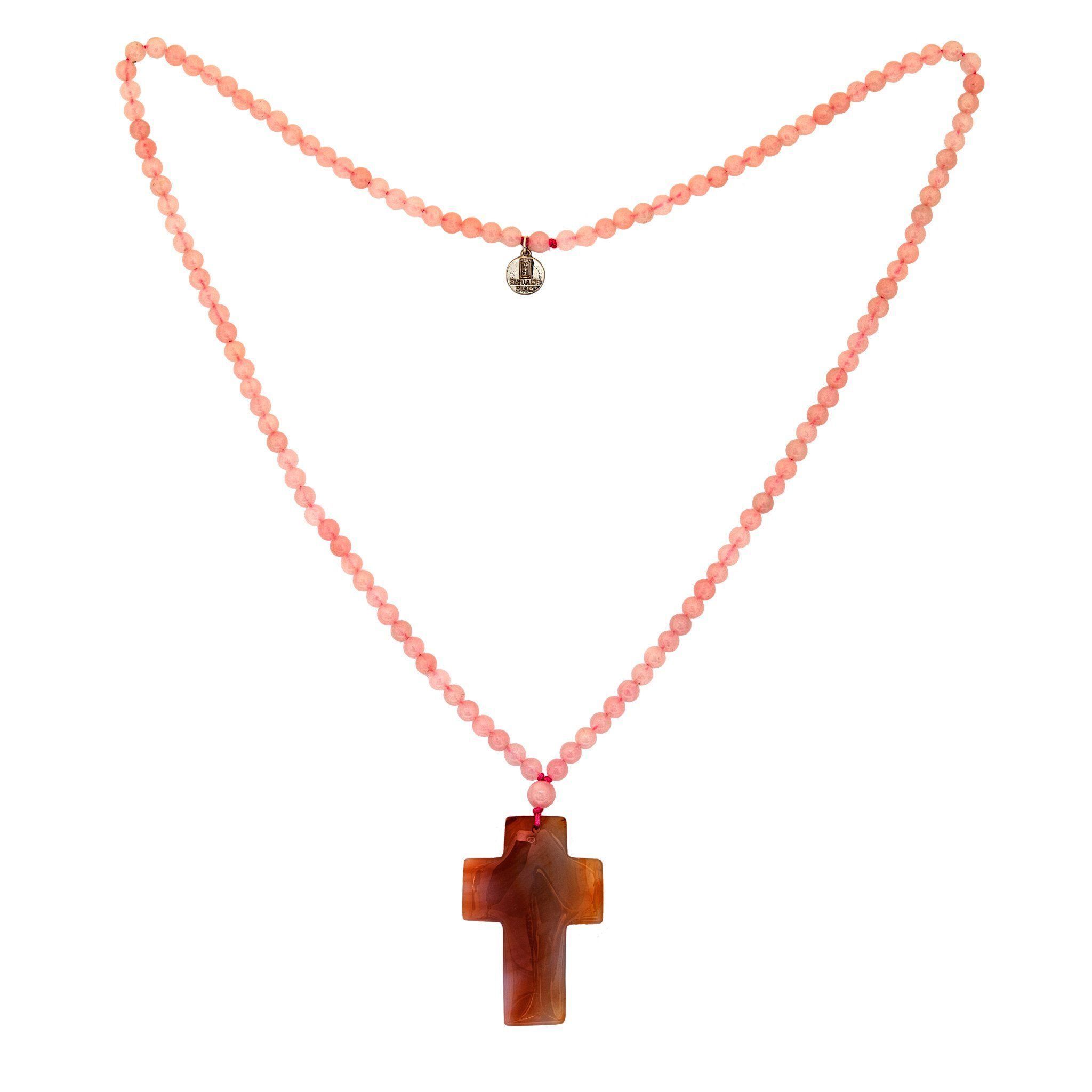 BAHIA rose quartz cross necklace - MadamSiam