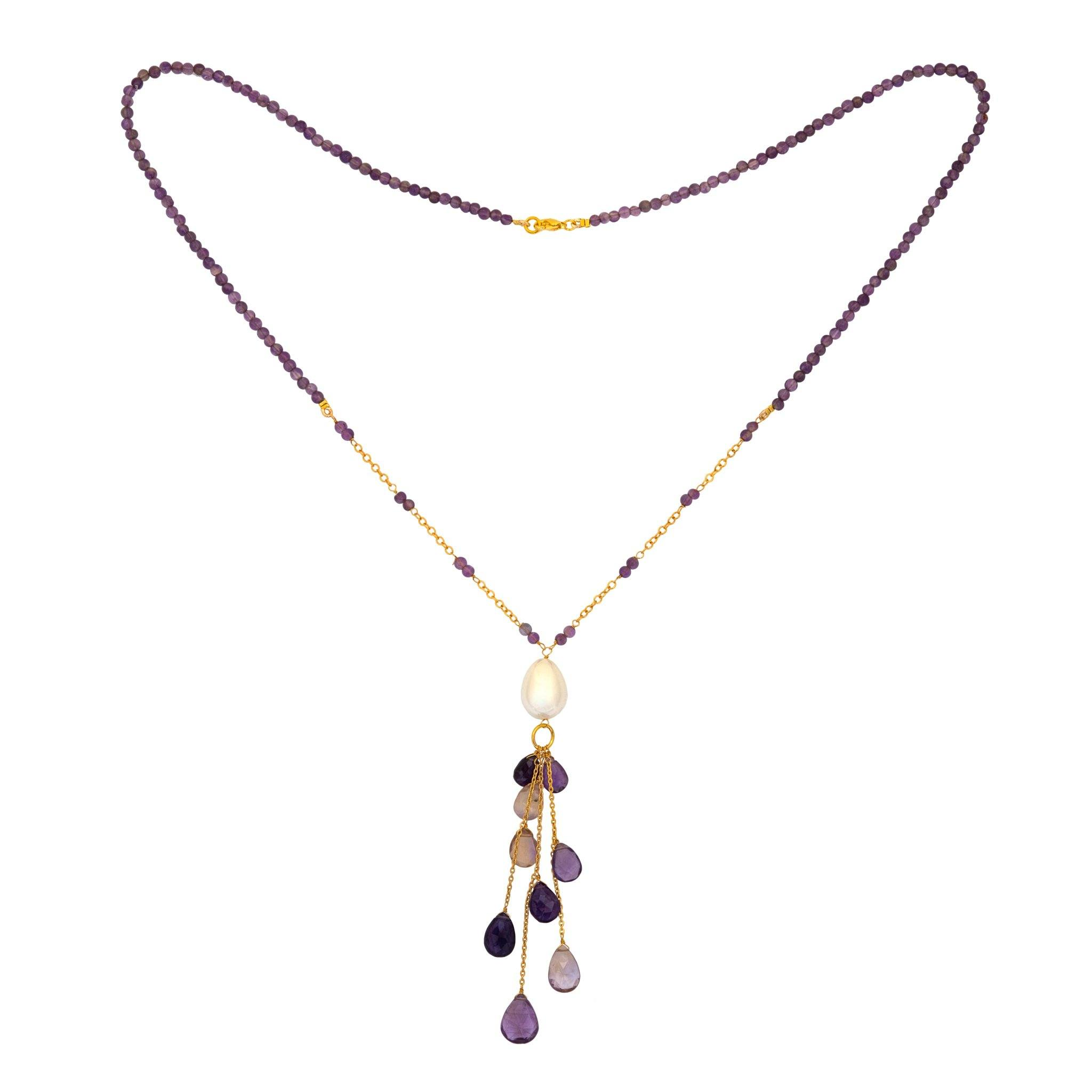COCO pearl and amethyst necklace with amethyst drops - MadamSiam