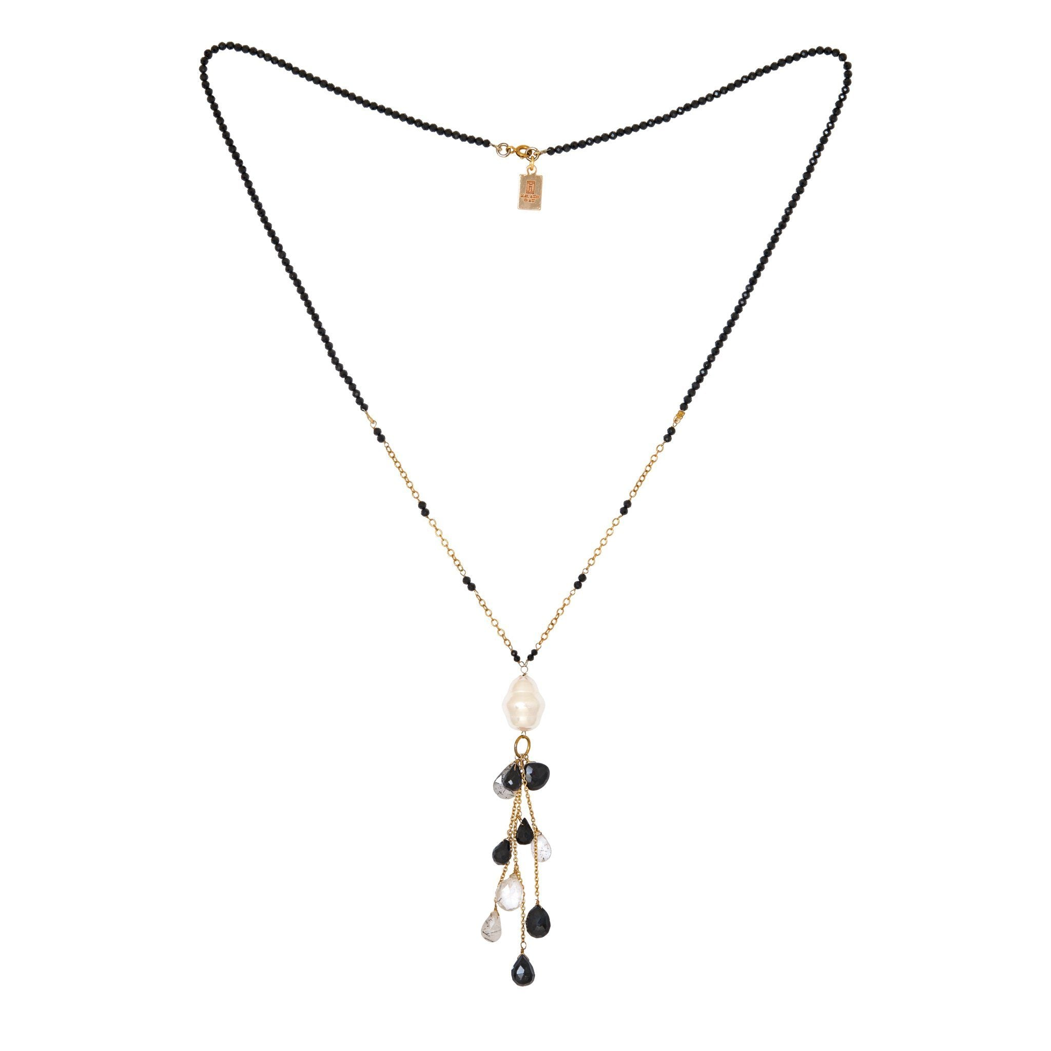 COCO pearl  and black onyx necklace with rutile drops - MadamSiam