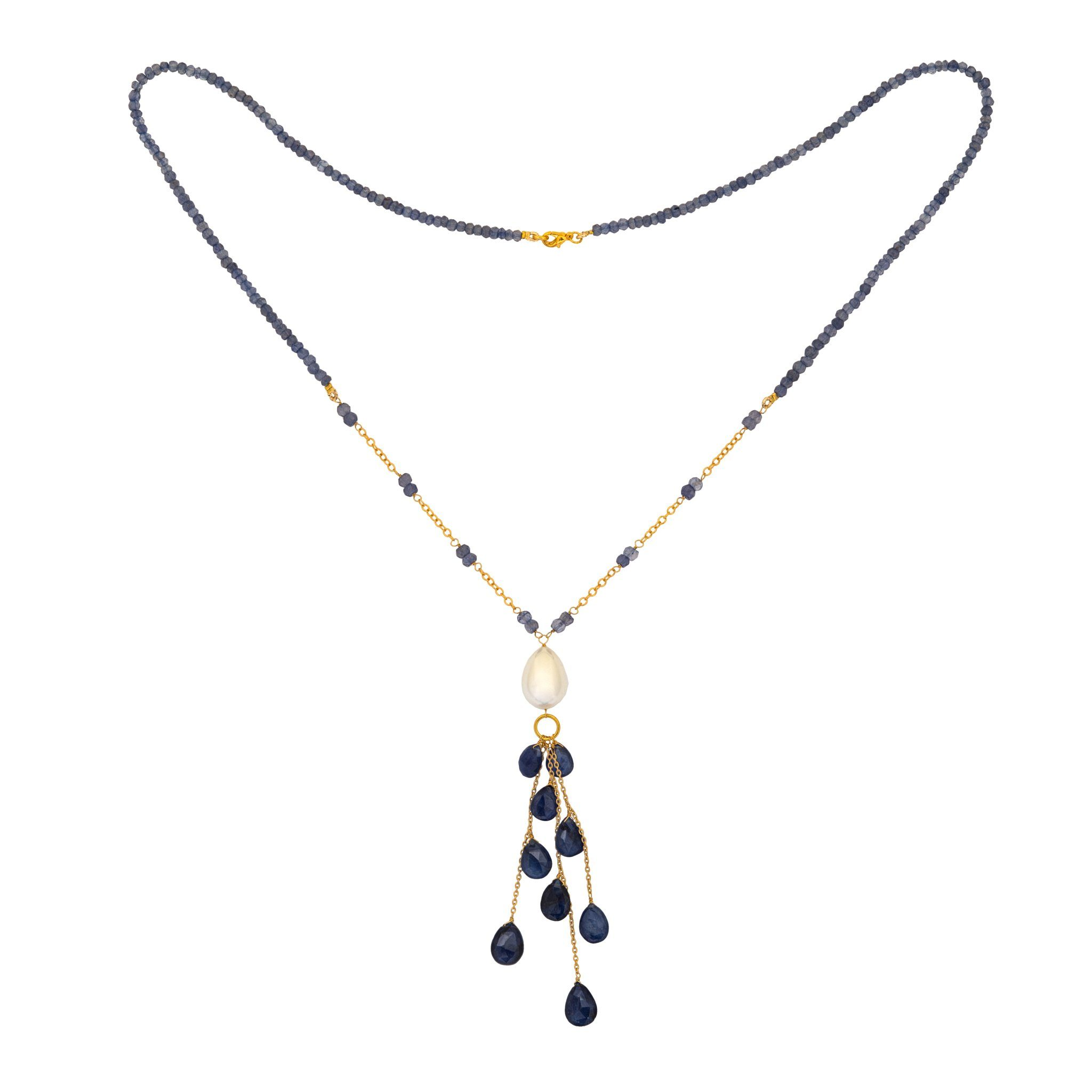 COCO pearl and iolite necklace with drops - MadamSiam