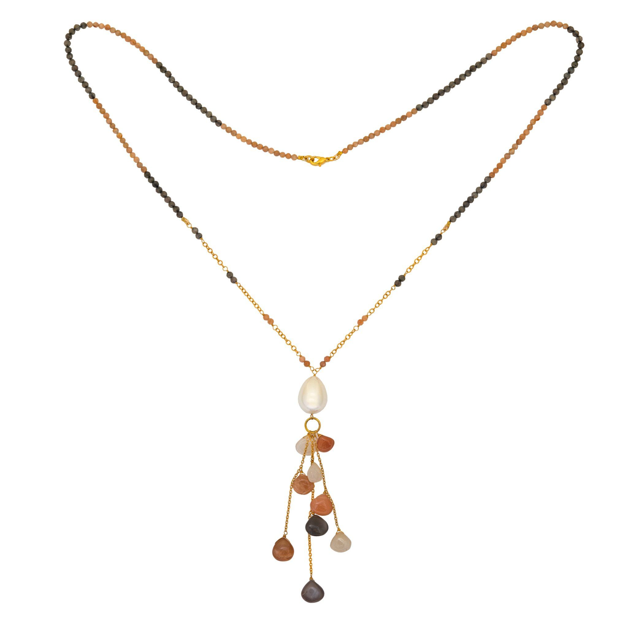 COCO pearl and moonstone necklace with drops - MadamSiam