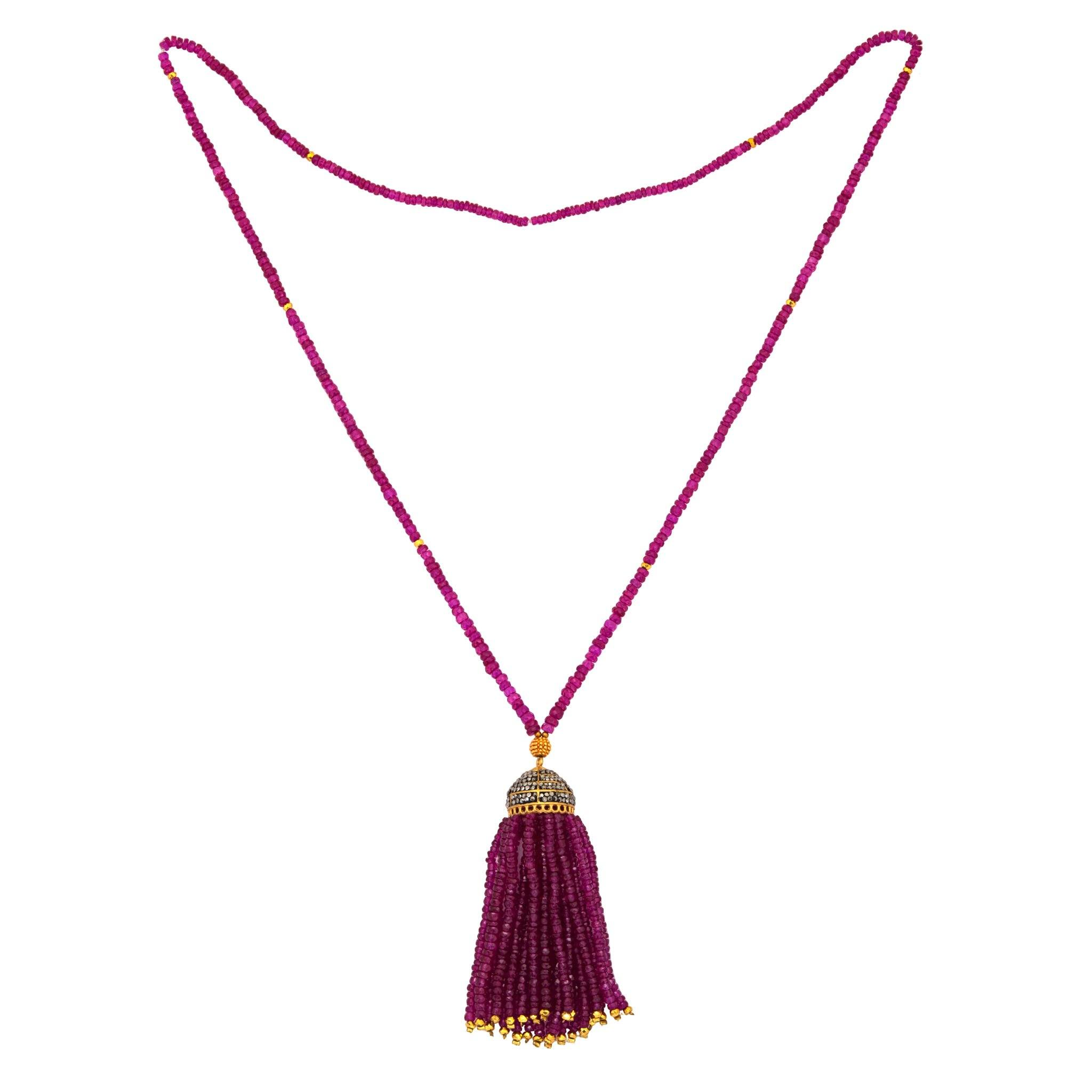 PALACIO Ruby tassel necklace - MadamSiam