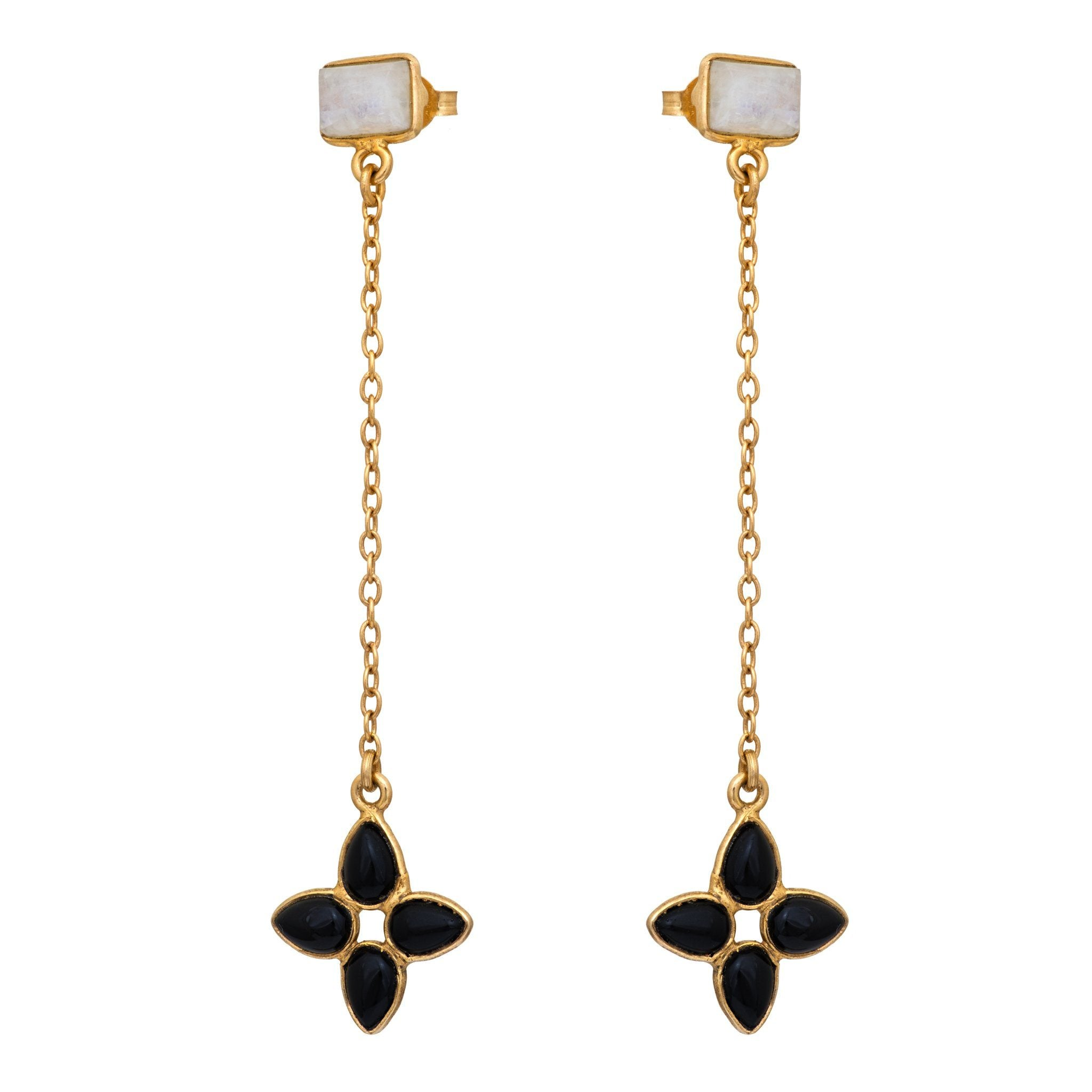 FLORA black onyx earrings - MadamSiam