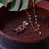 LUZ moonstone and summer stones long earrings - MadamSiam