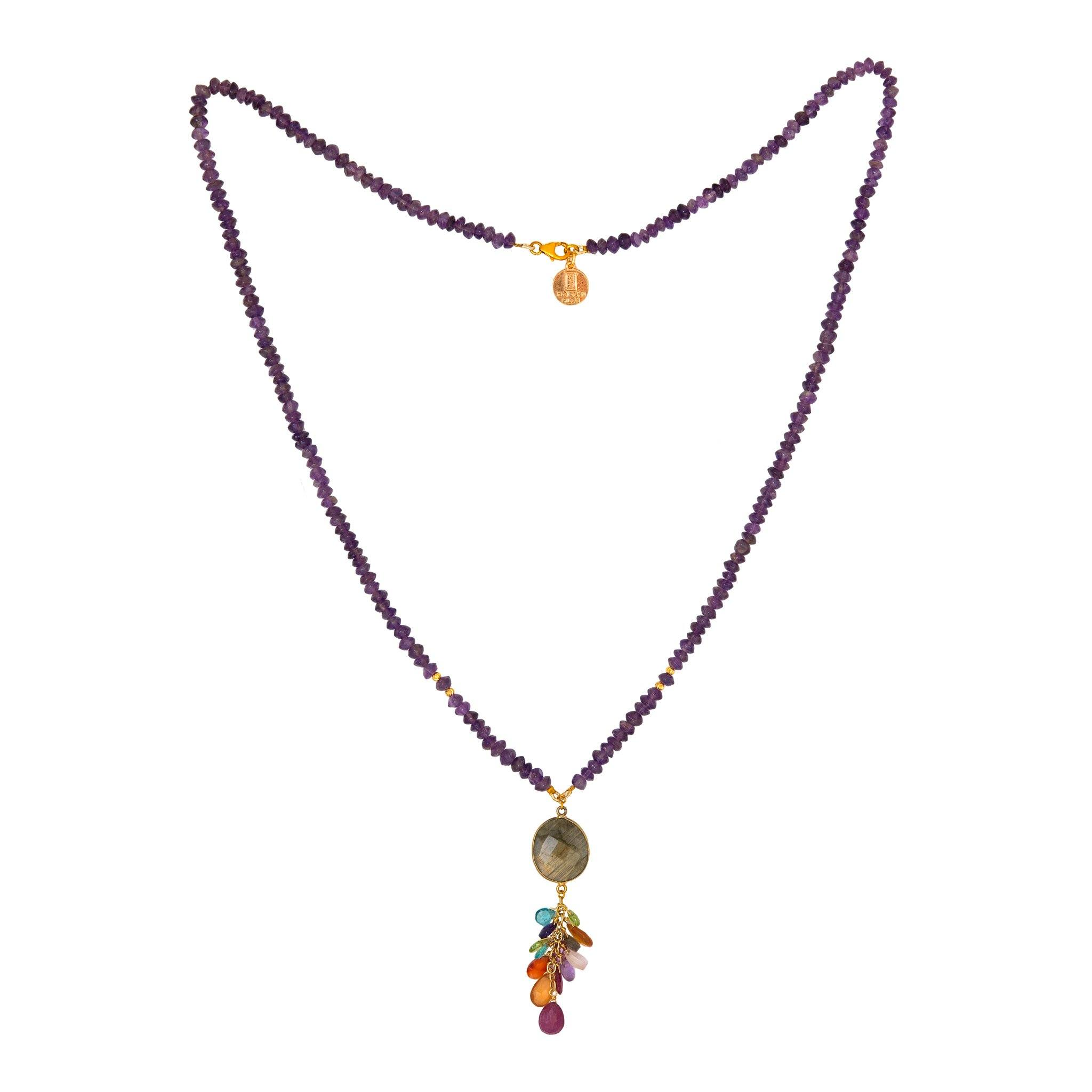 JOYA amethyst long necklace with drops - MadamSiam