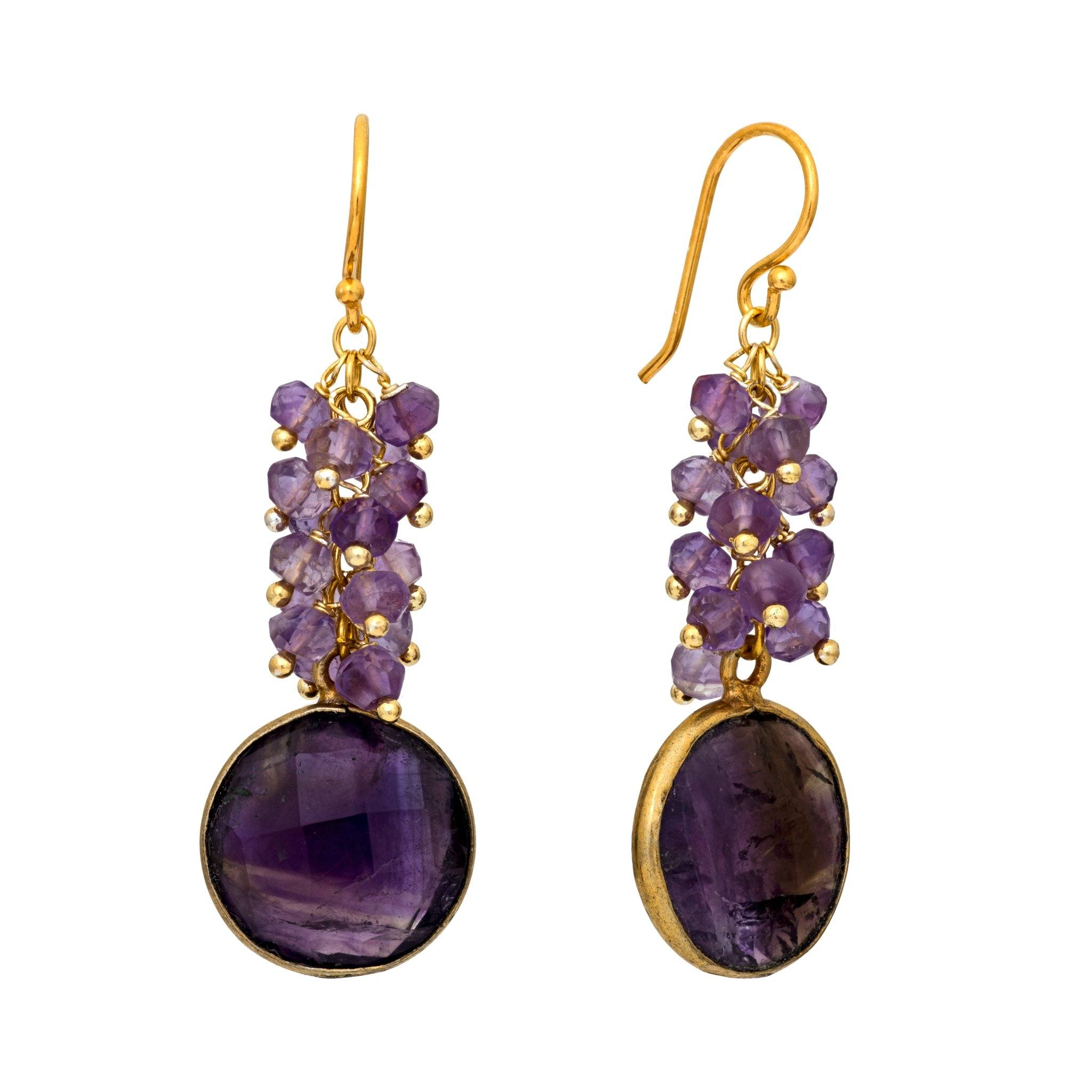 KAI amethyst cluster earrings