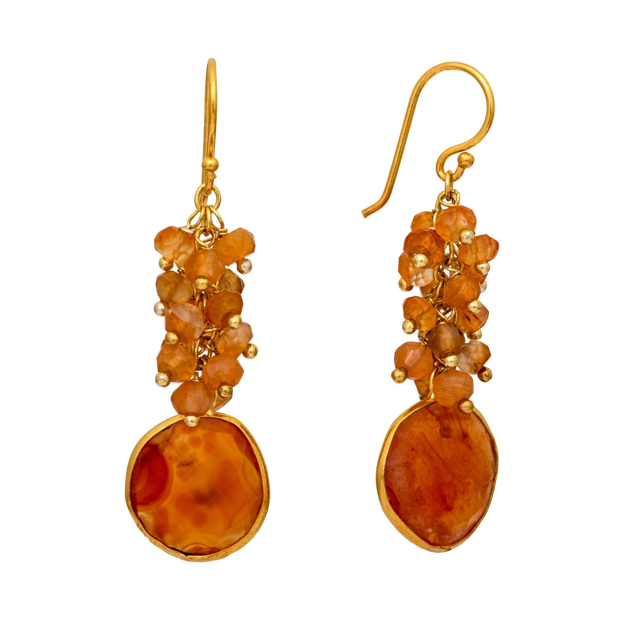 KAI carnelian cluster earrings