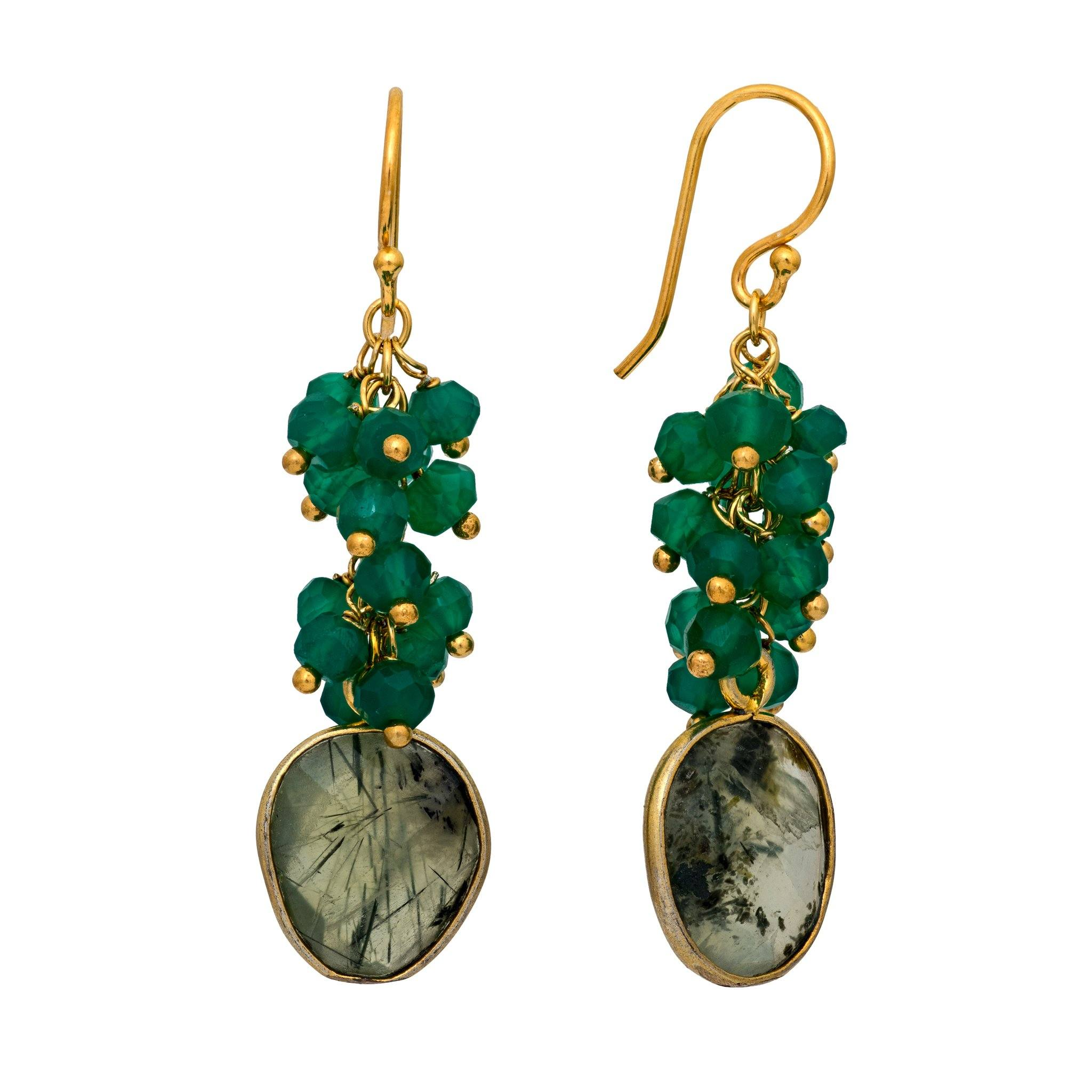 KAI green onyx cluster earrings