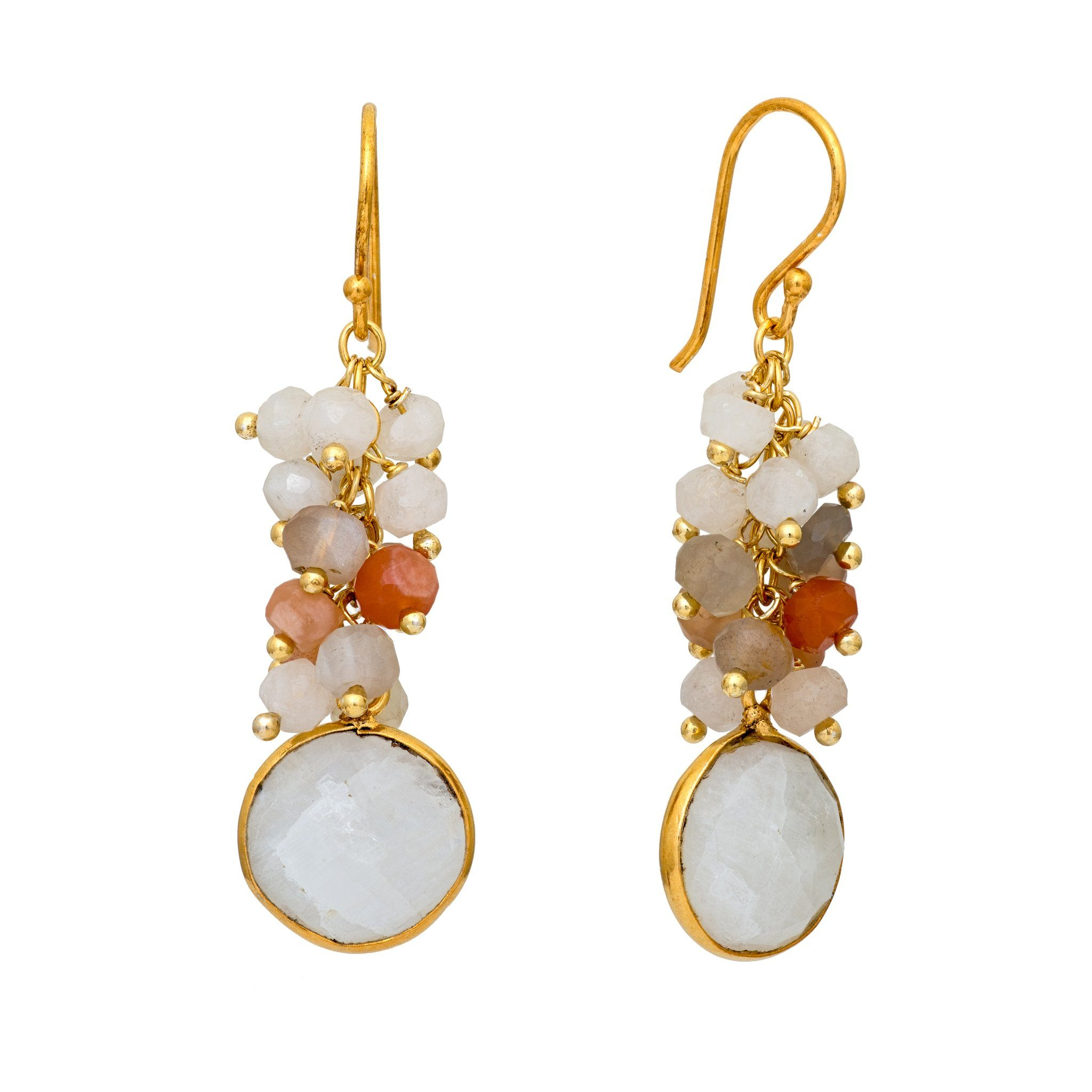 KAI mix of moonstone cluster earrings - MadamSiam