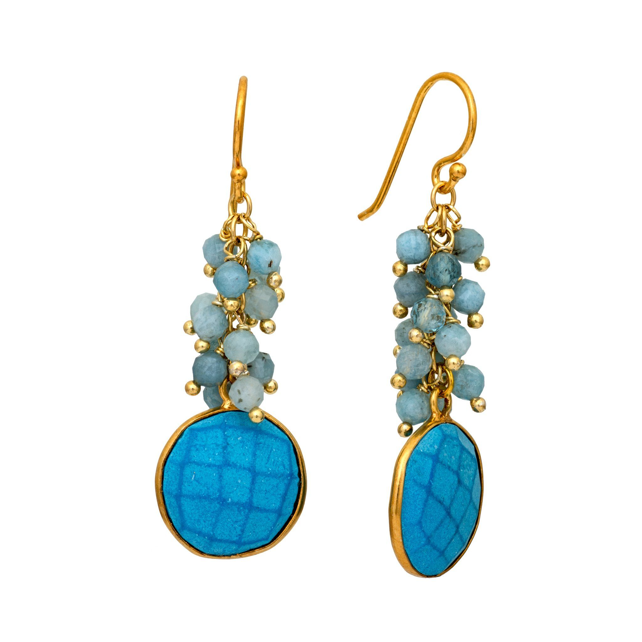 KAI turquoise cluster earrings