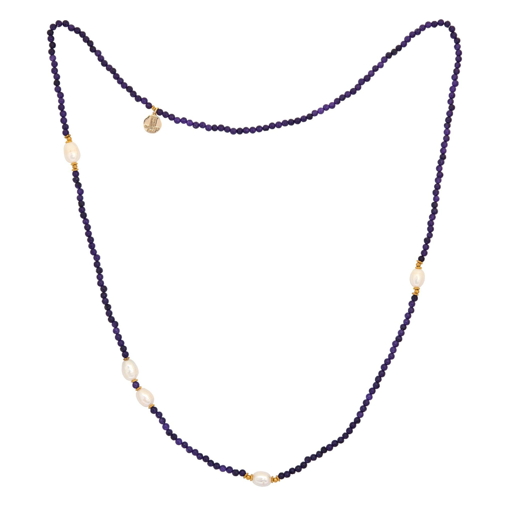 KIMUKA pearls and amethyst necklace - MadamSiam