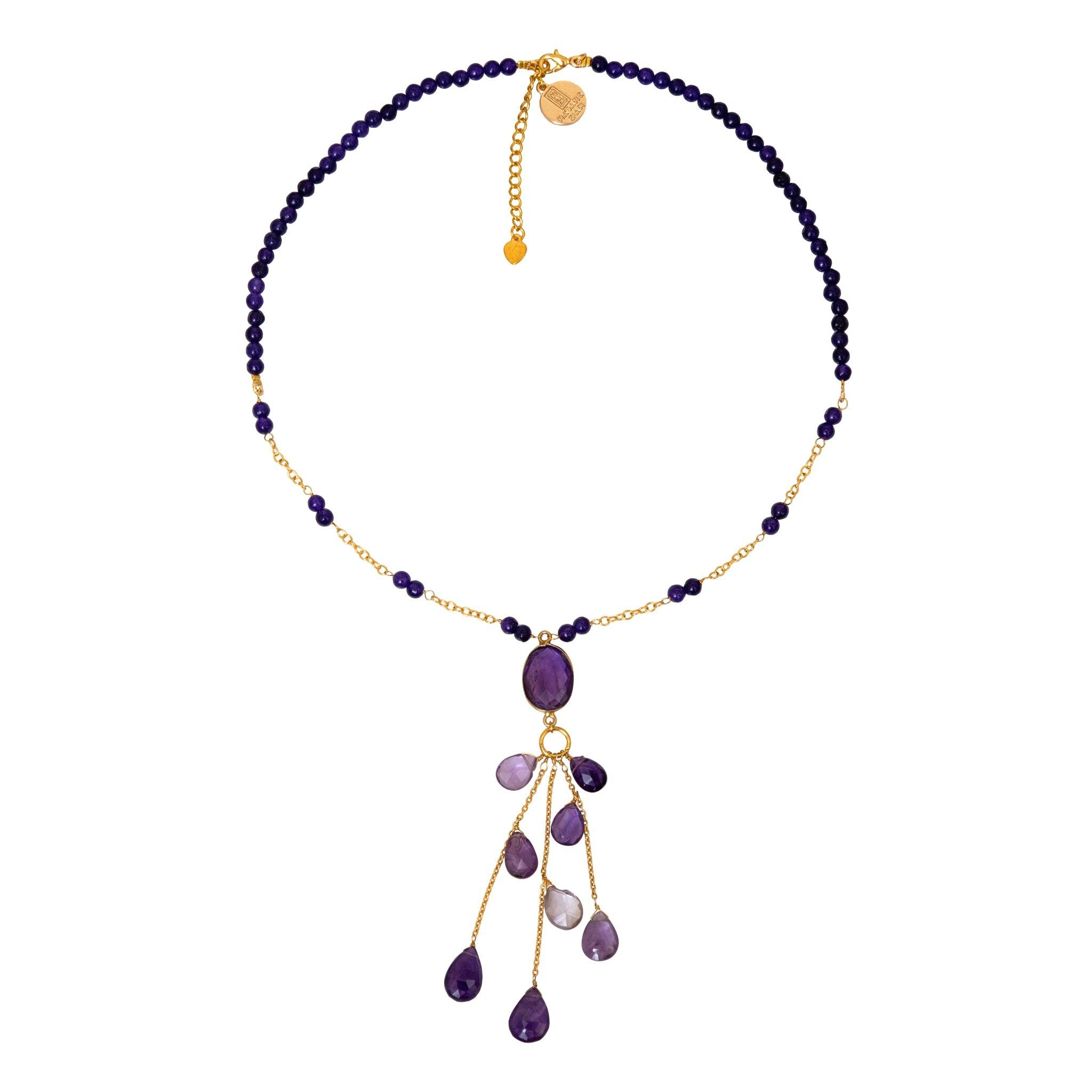 LUZ amethyst chocker with drops - MadamSiam