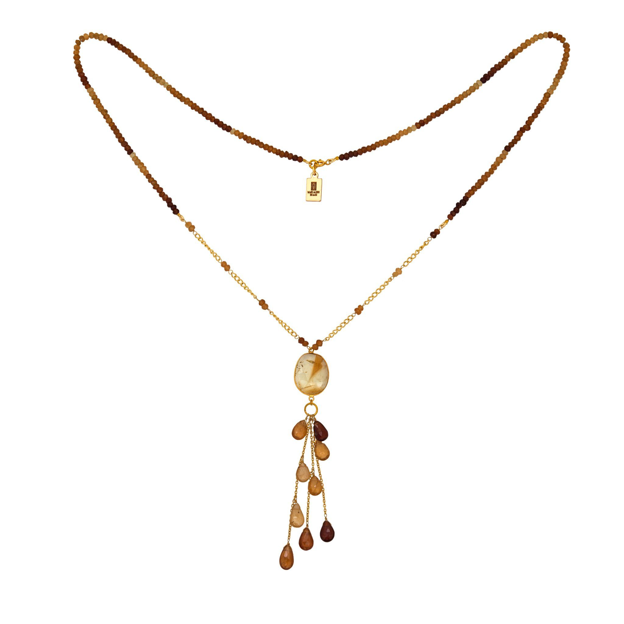 LUZ citrine necklace with drops - MadamSiam
