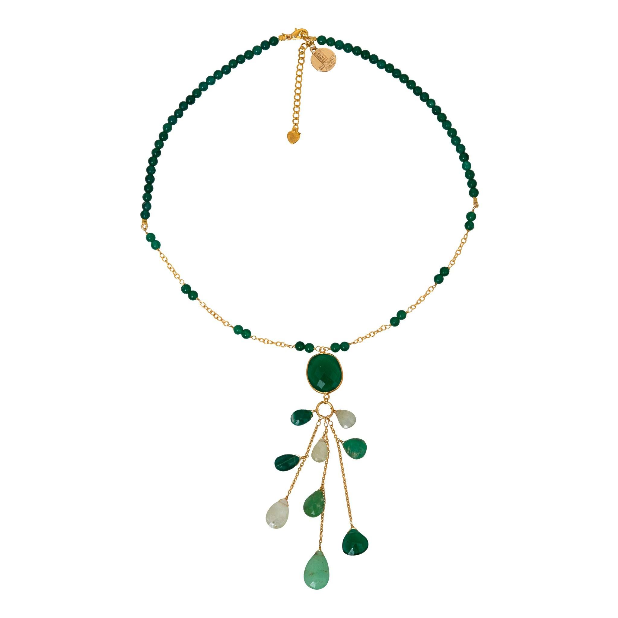 LUZ green onyx chocker with drops - MadamSiam