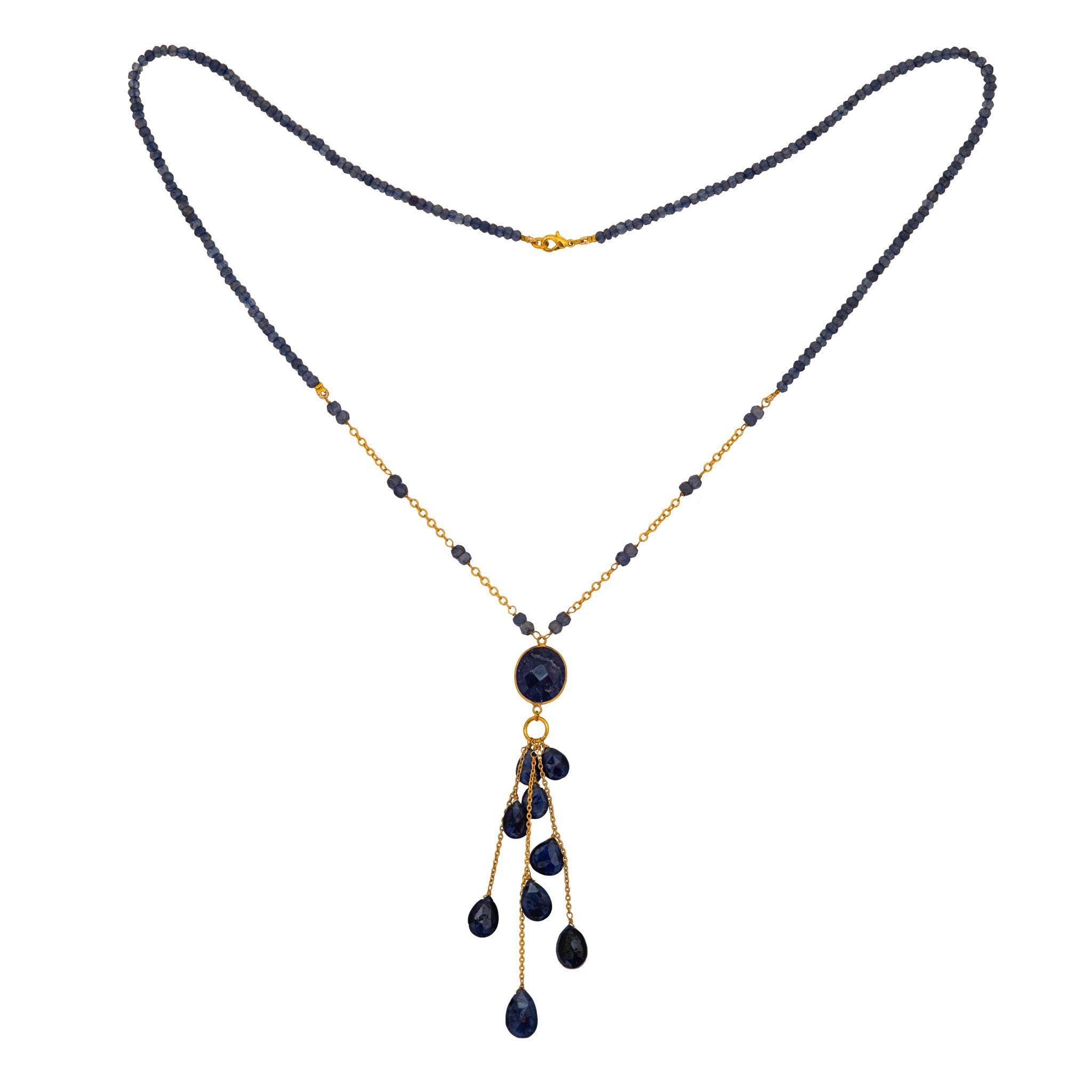 LUZ iolite long necklace with drops - MadamSiam