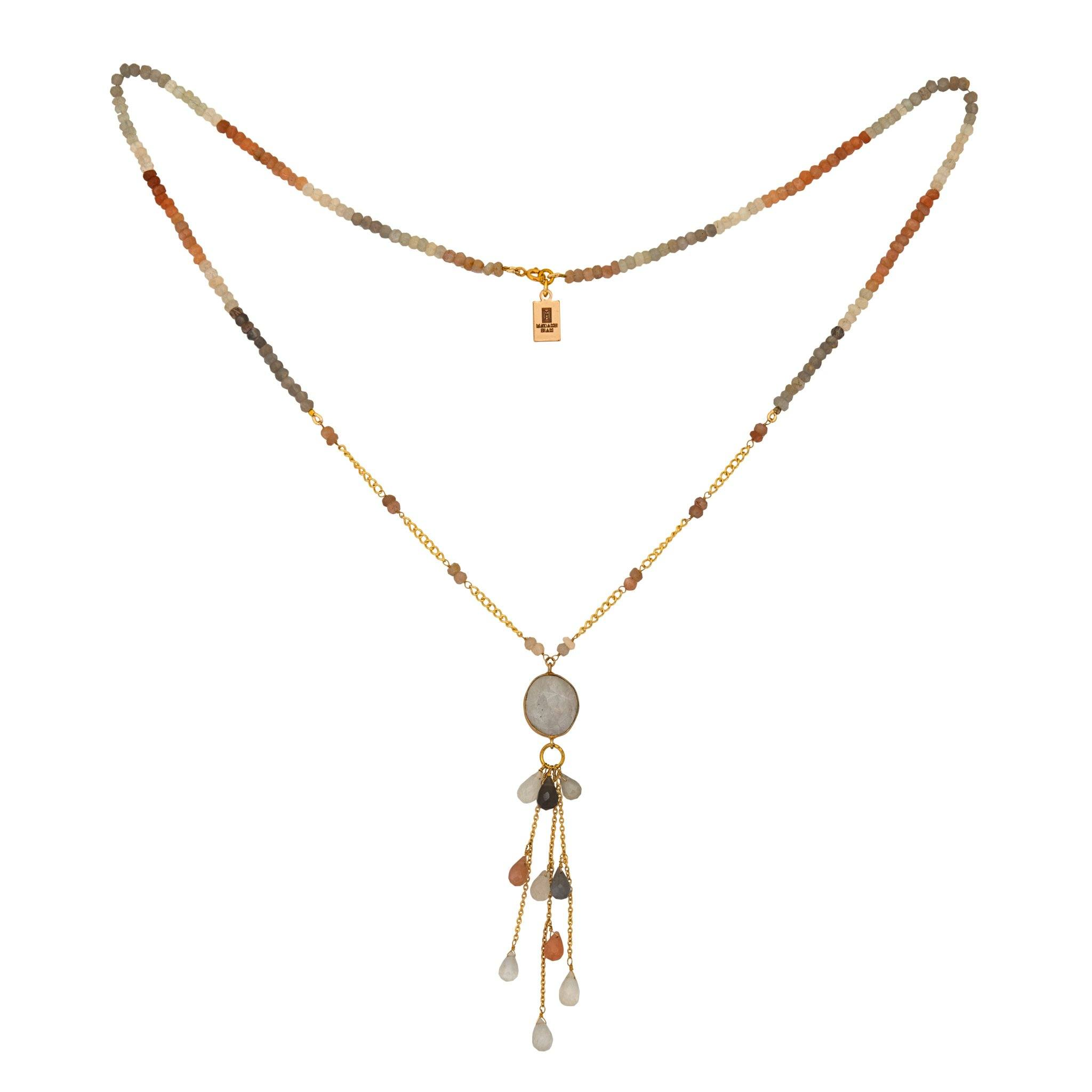 LUZ mix of moonstone necklace with drops - MadamSiam