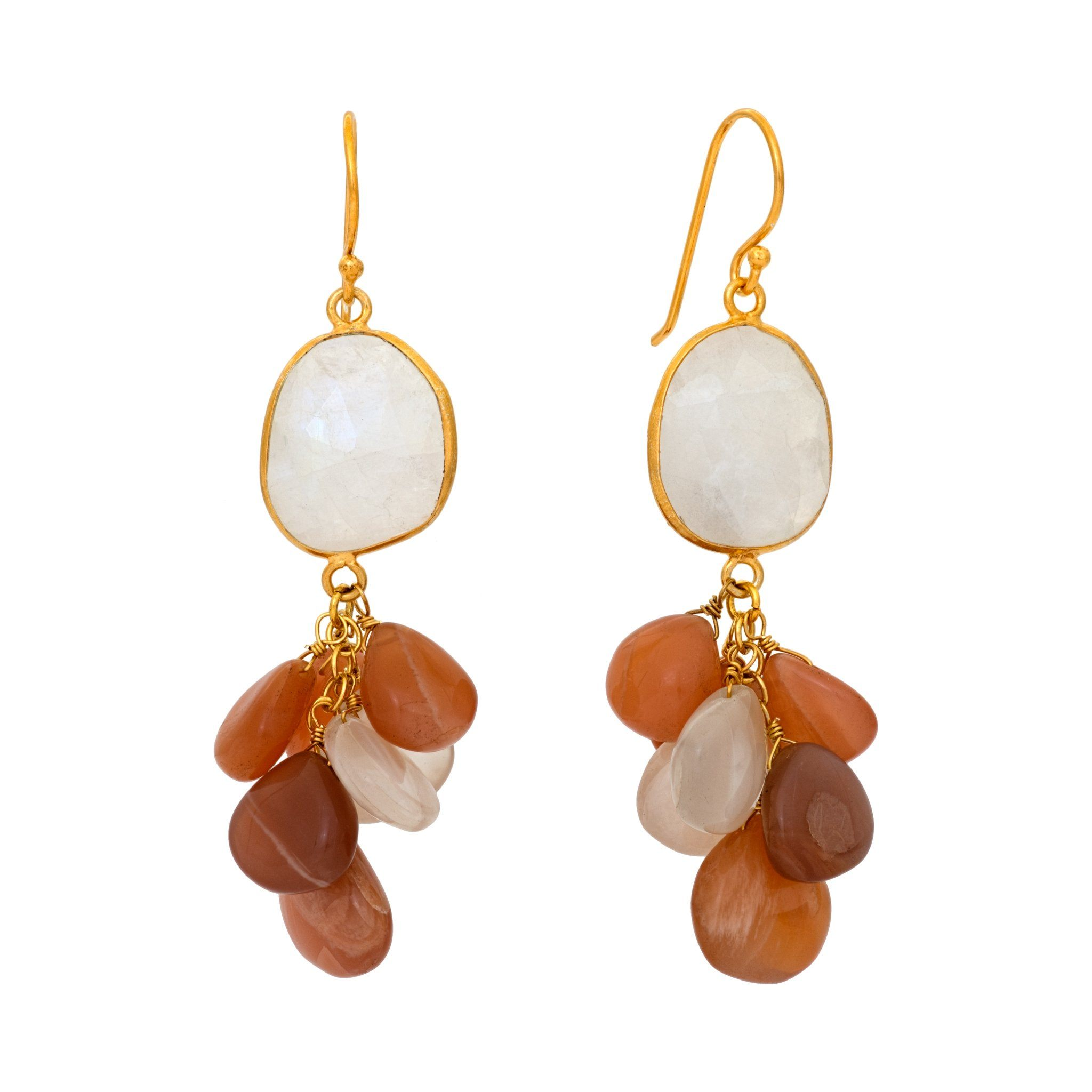 LUZ mix of peach moonstone cluster earrings - MadamSiam