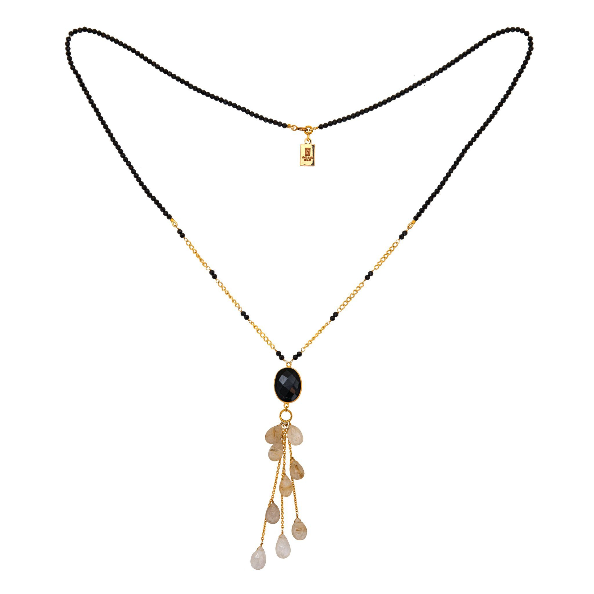 LUZ black onyx long necklace with rutile drops - MadamSiam