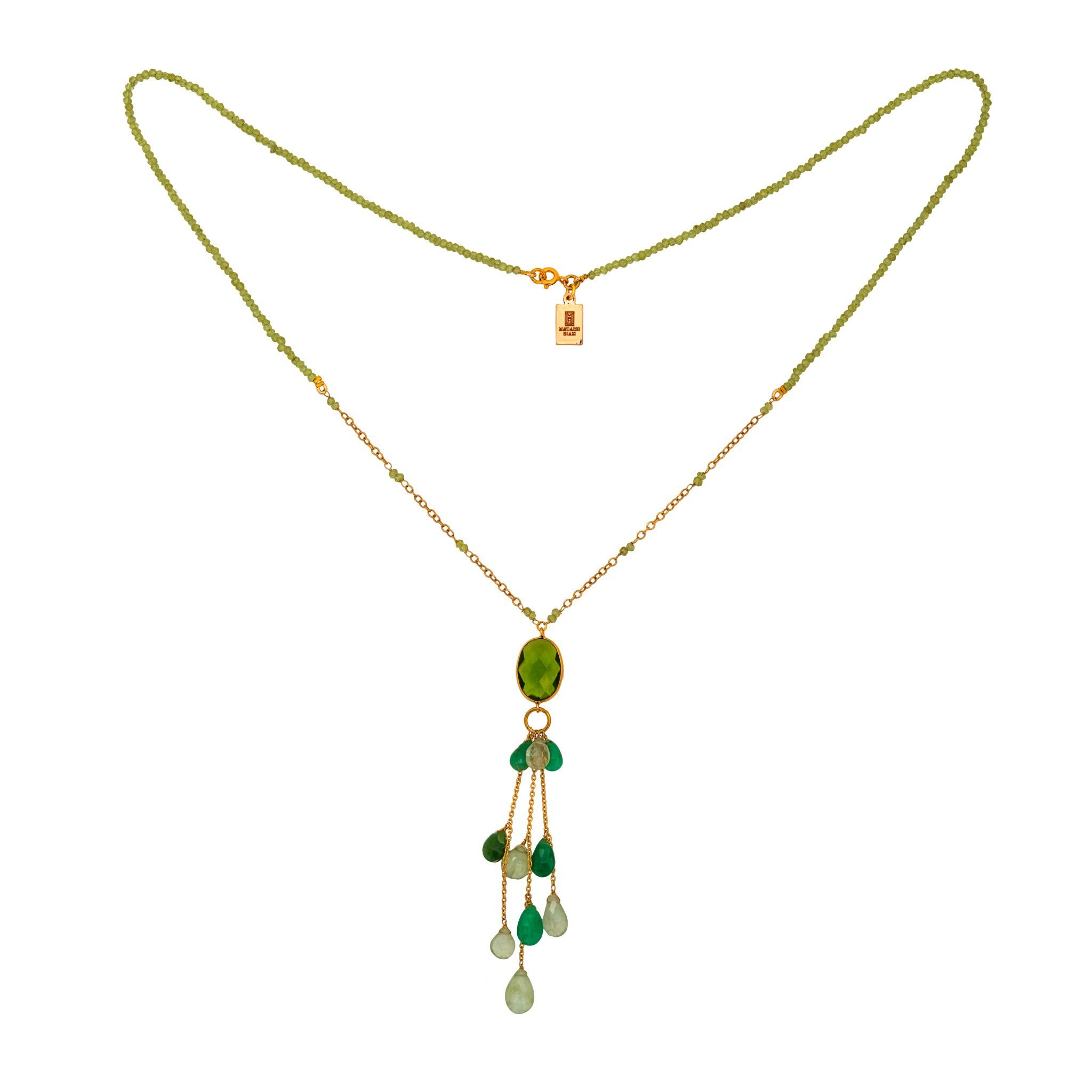 LUZ peridot long necklace with drops - MadamSiam