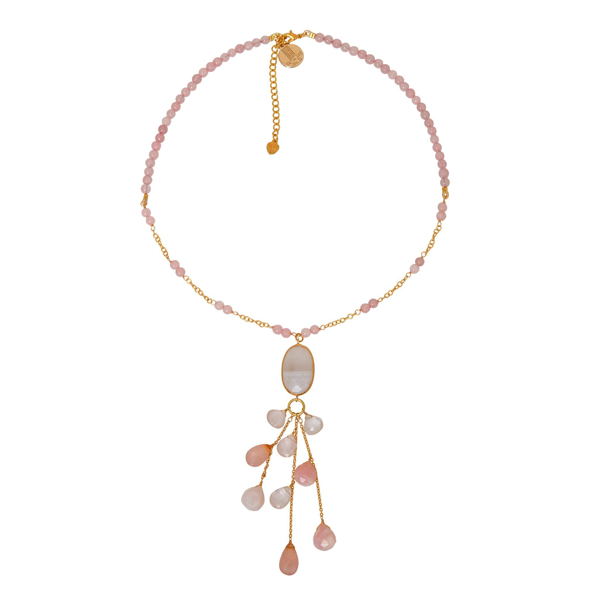 LUZ rose quartz chocker with drops - MadamSiam
