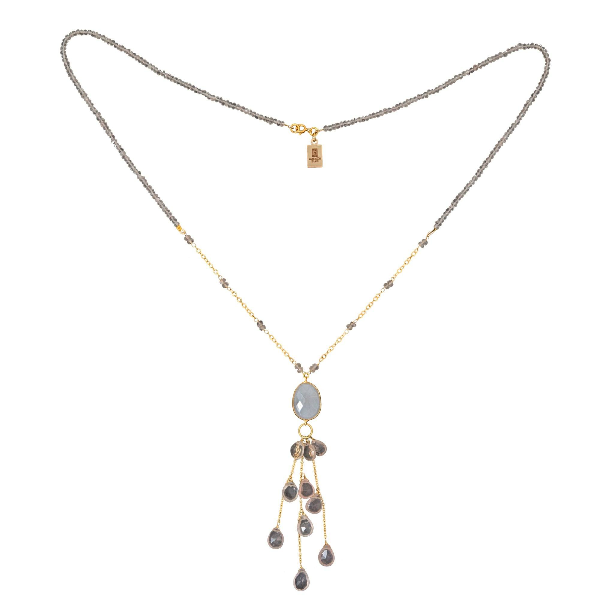 LUZ rose quartz long necklace with drops - MadamSiam