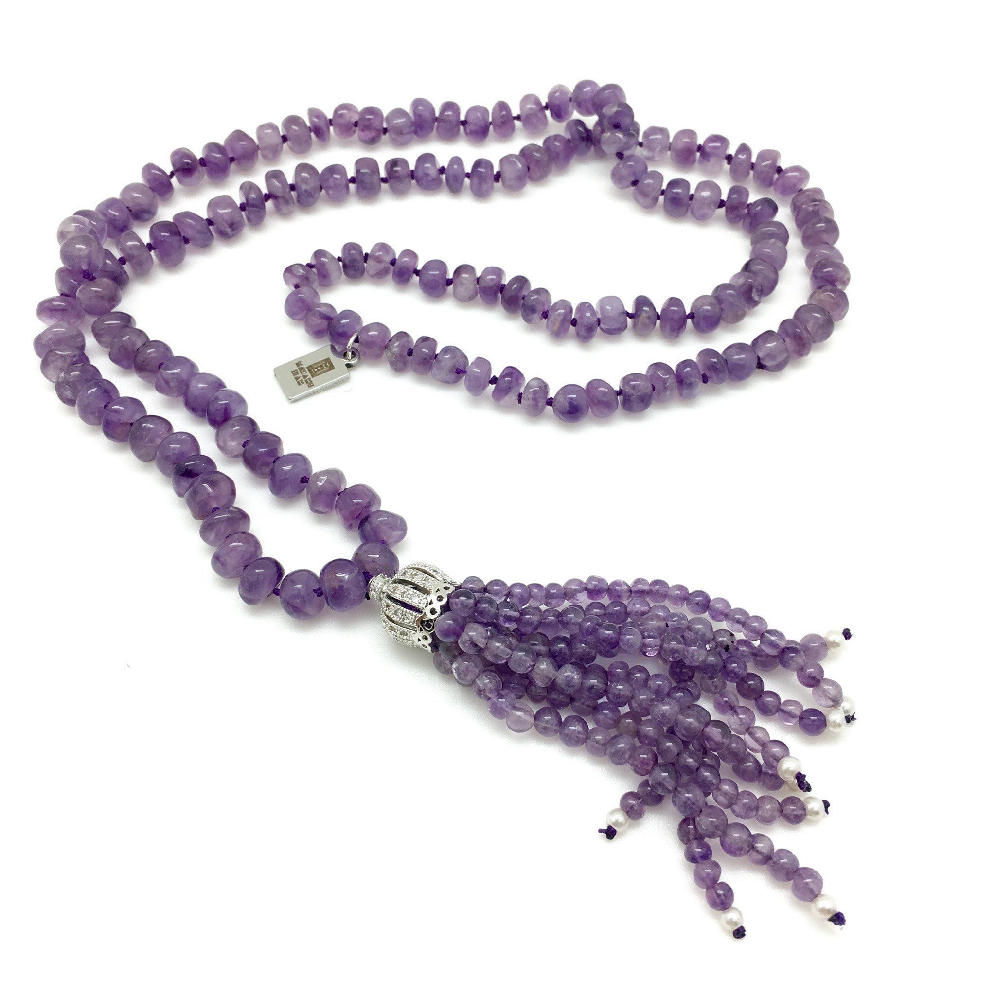 Stona purple amethyst tassel necklace - MadamSiam