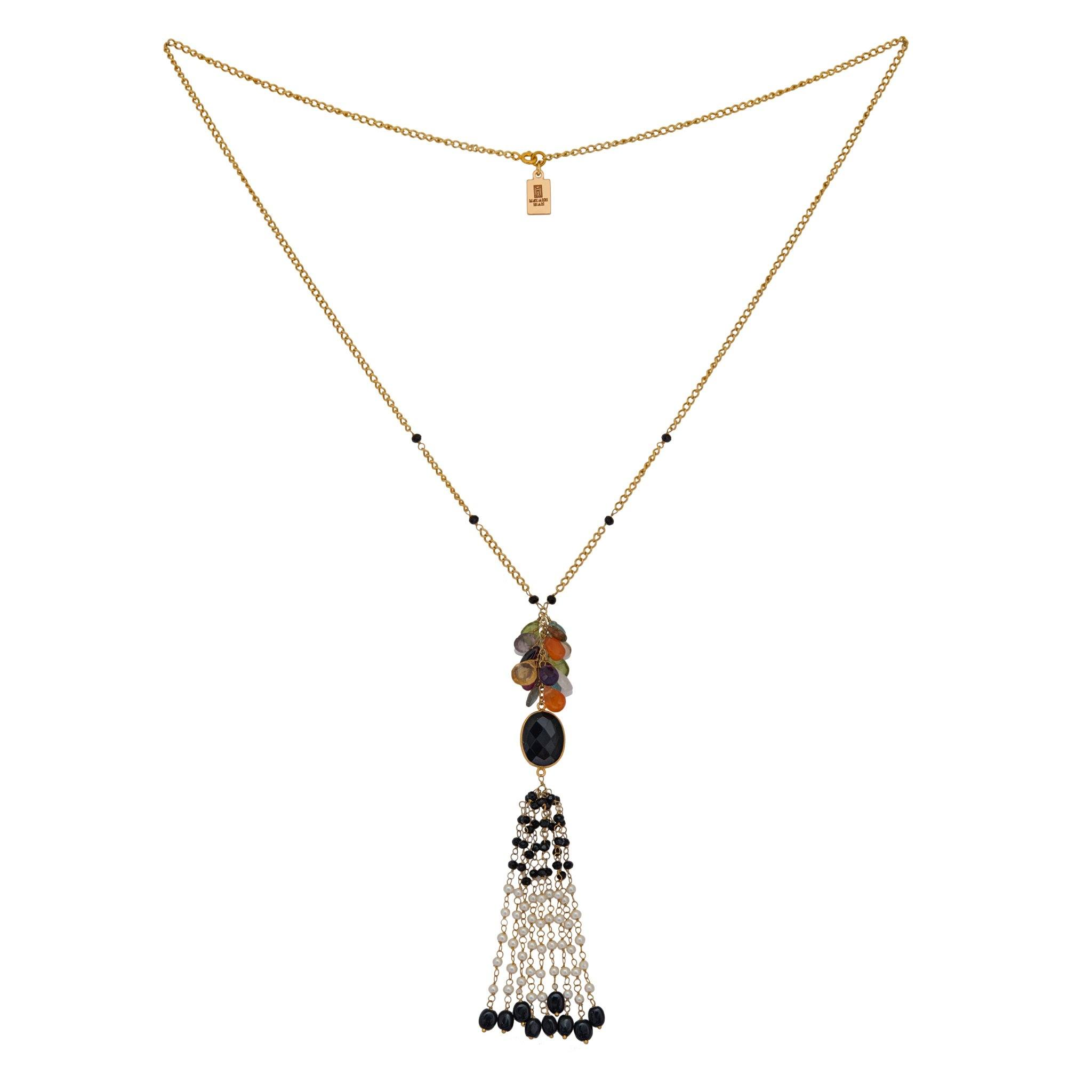 MAY black onyx tassel necklace - MadamSiam