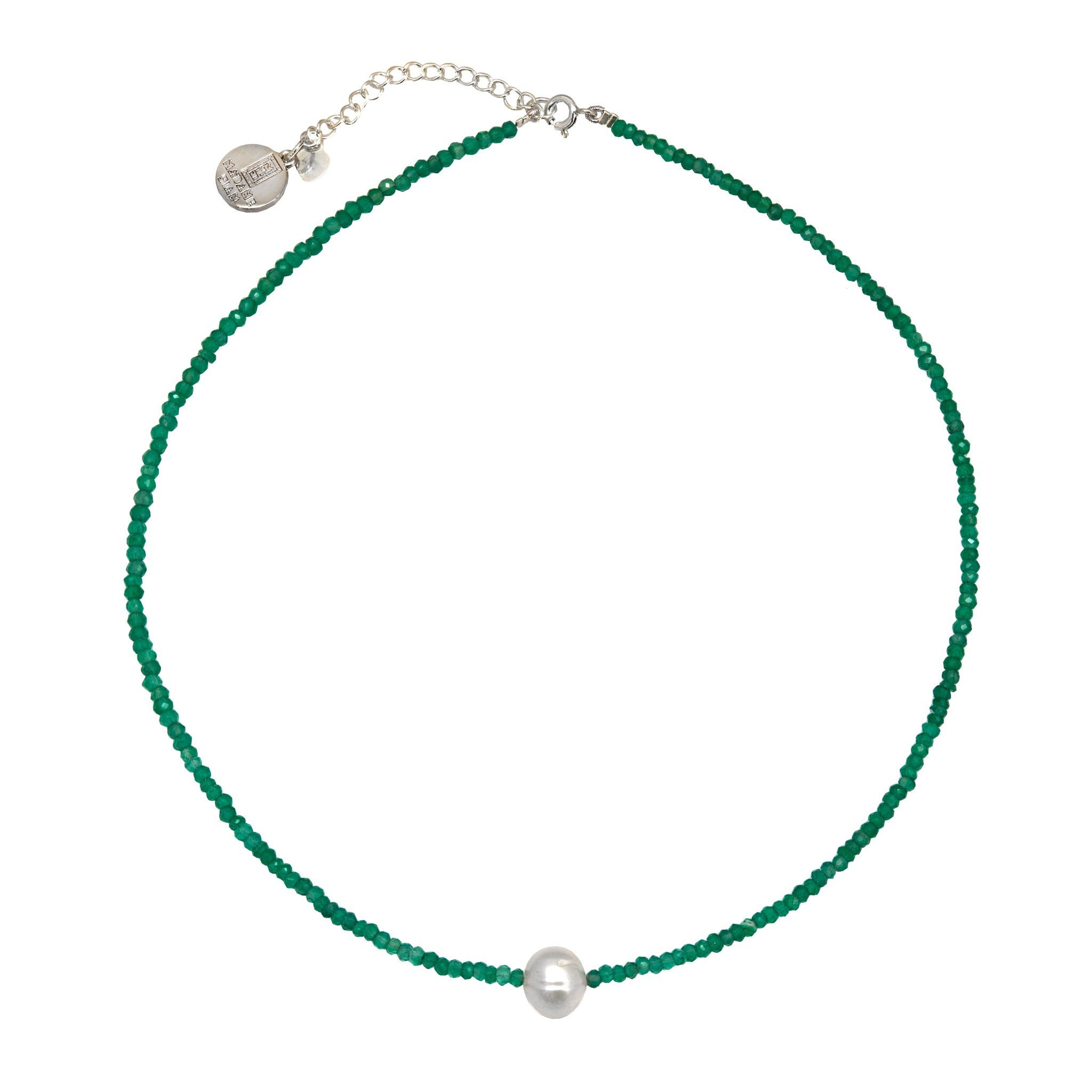 MINIMA pearl and green onyx chocker - MadamSiam