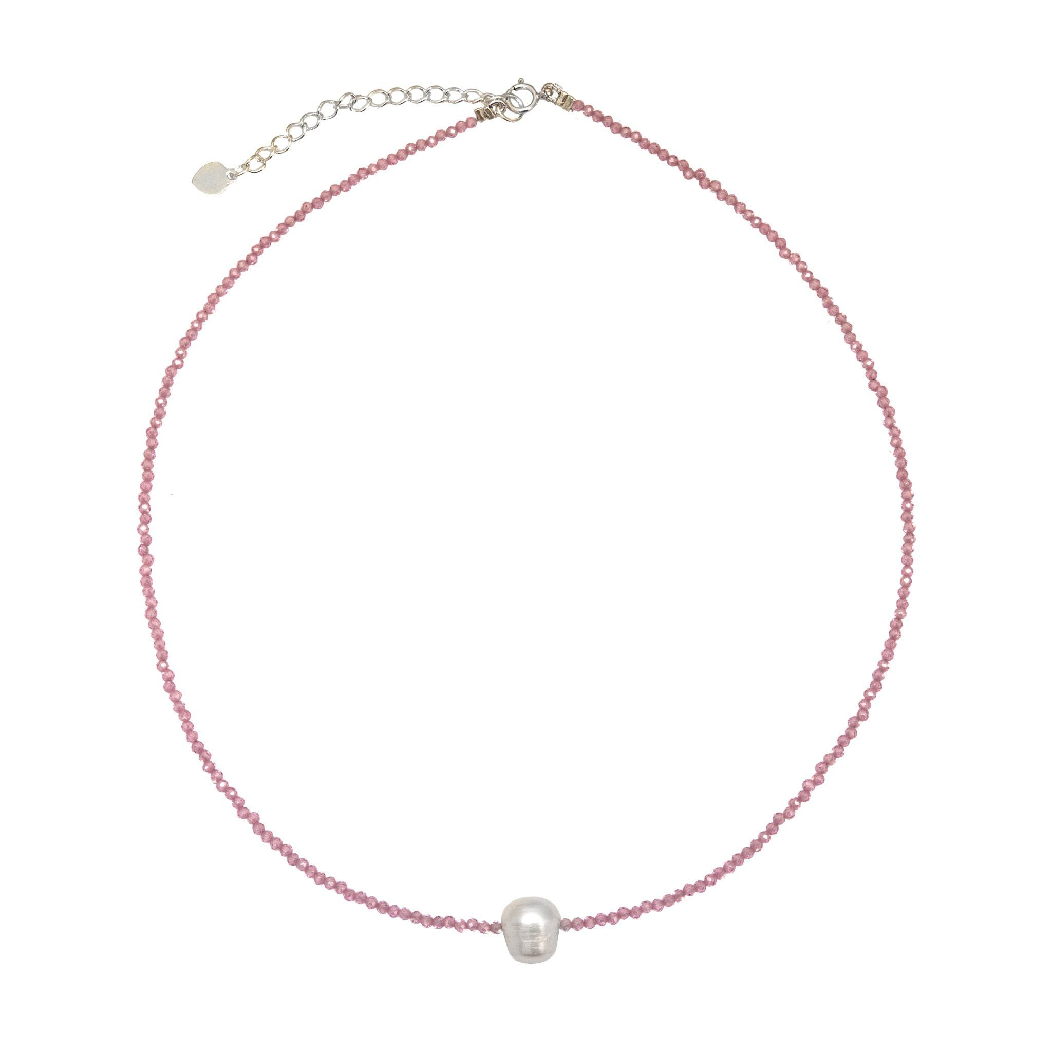 MINIMA pearl and rose quartz chocker - MadamSiam