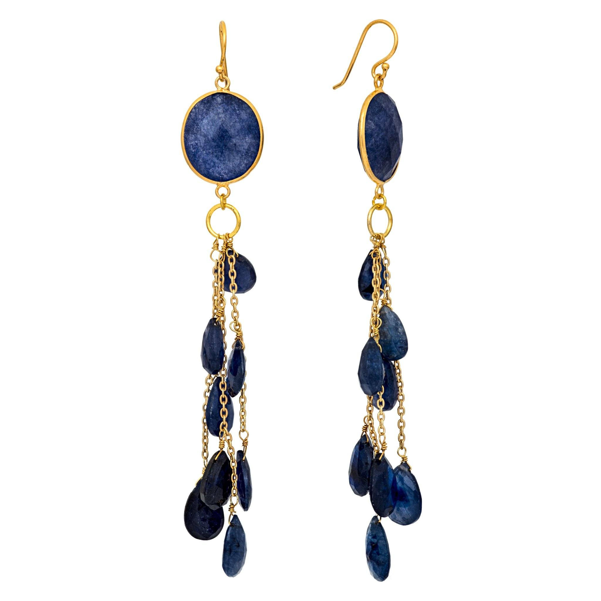 LUZ iolite cluster long earrings - MadamSiam