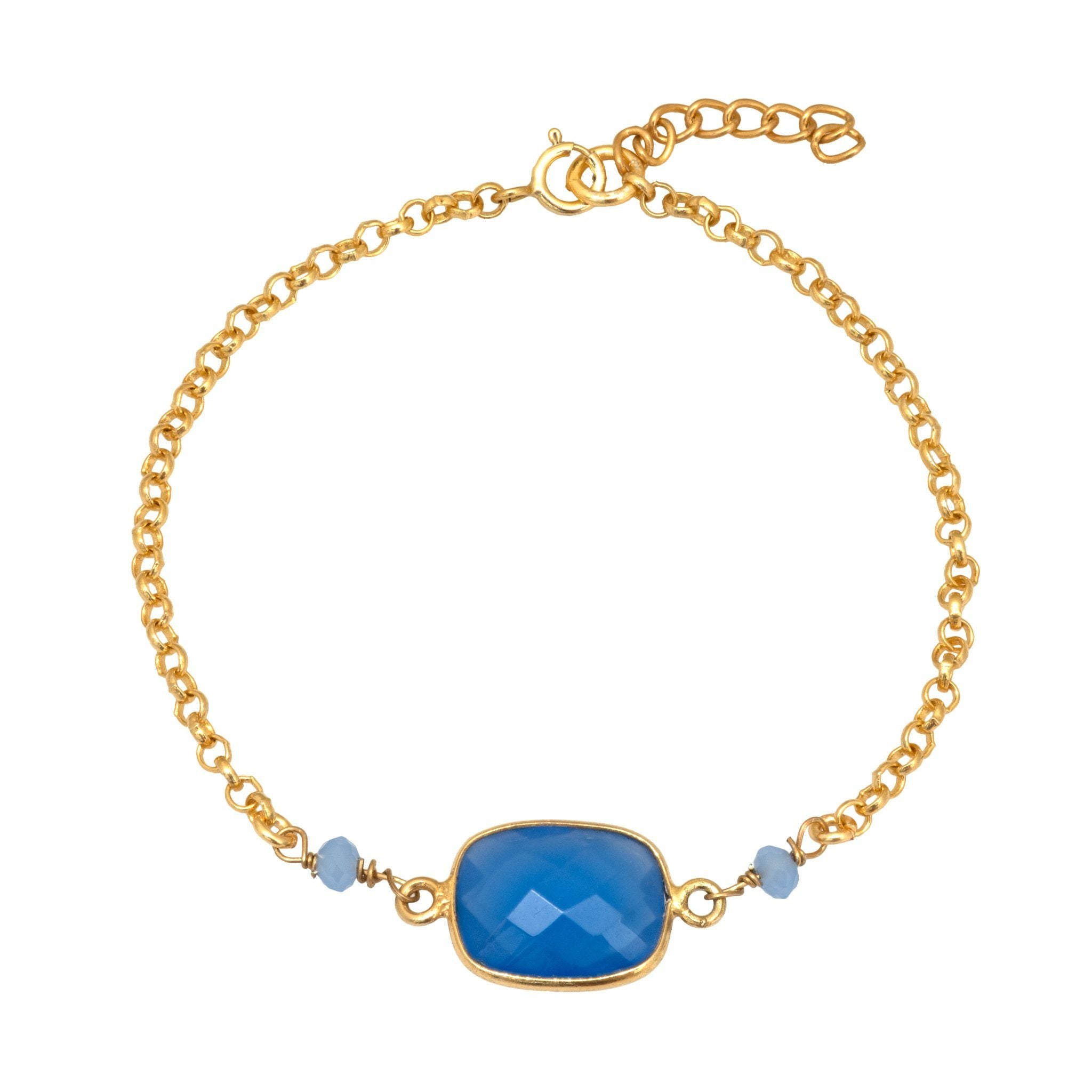 MOUSSON blue chalcedony vermeil bracelet - MadamSiam