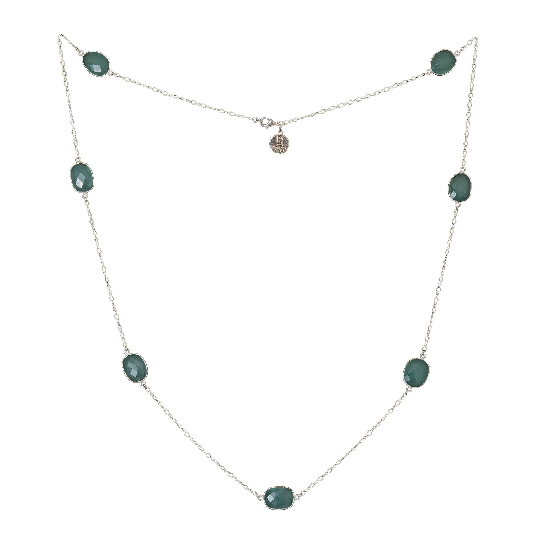MOUSSON green chalcedony silver necklace - MadamSiam