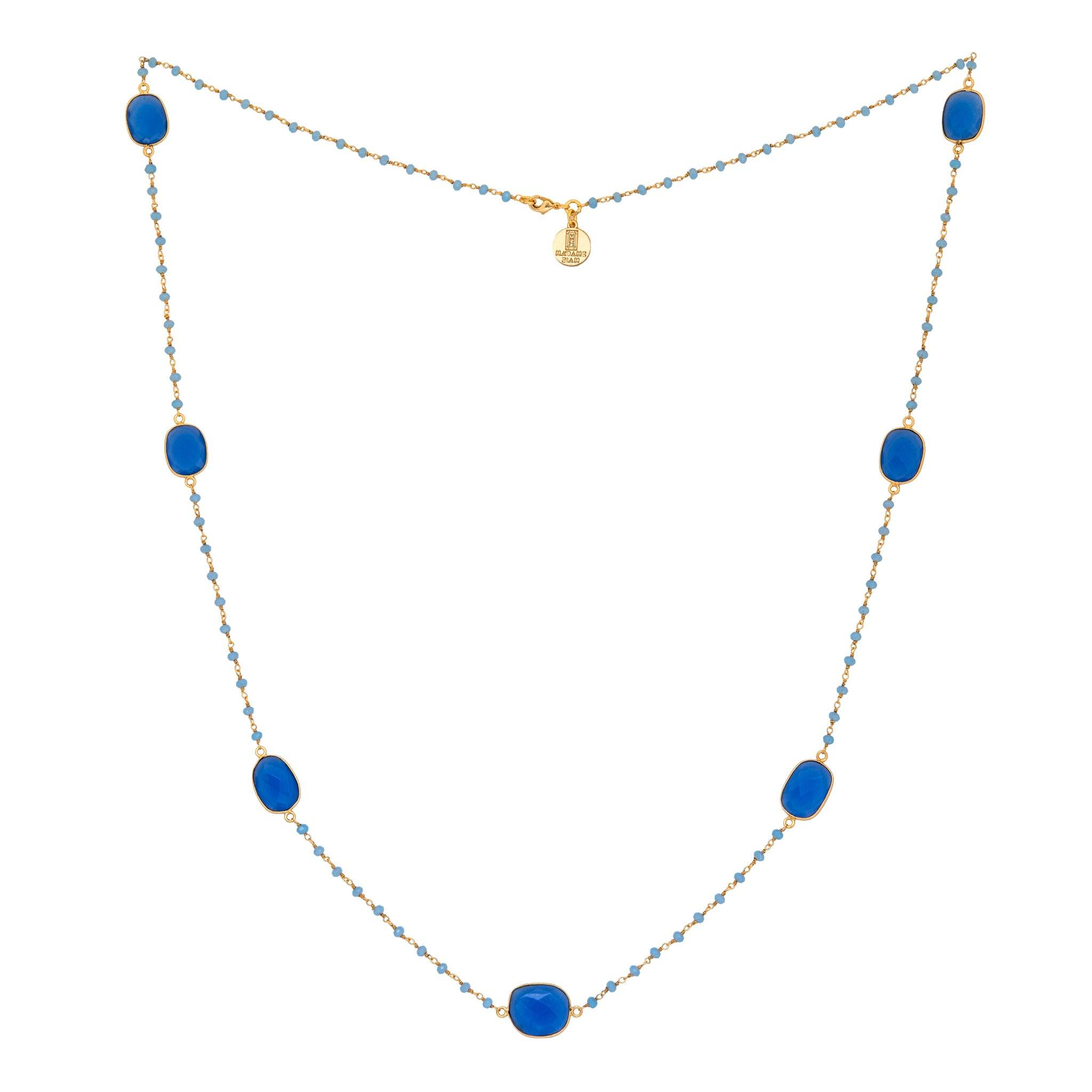 MOUSSON PERLEE blue chalcedony station necklace with rosary chain - MadamSiam