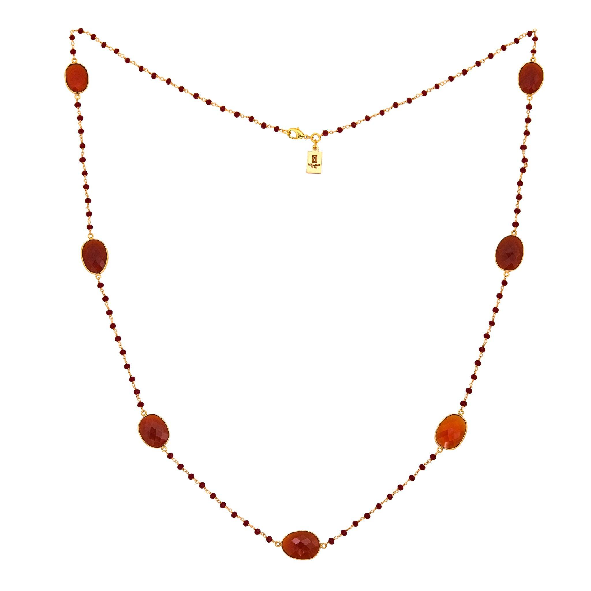 MOUSSON PERLEE Carnelian station necklace with rosary chain - MadamSiam