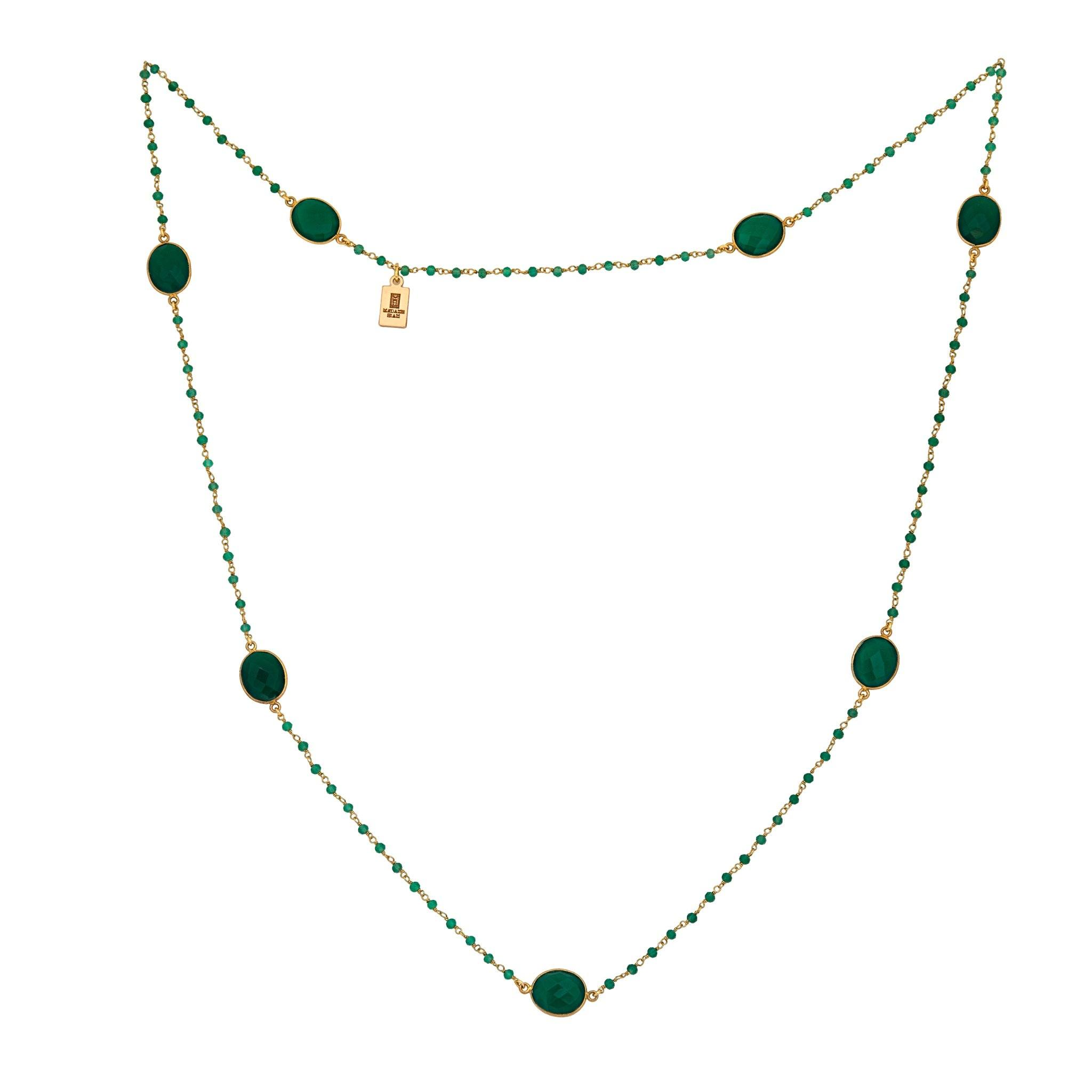 MOUSSON PERLEE green onyx station necklace with rosary chain - MadamSiam