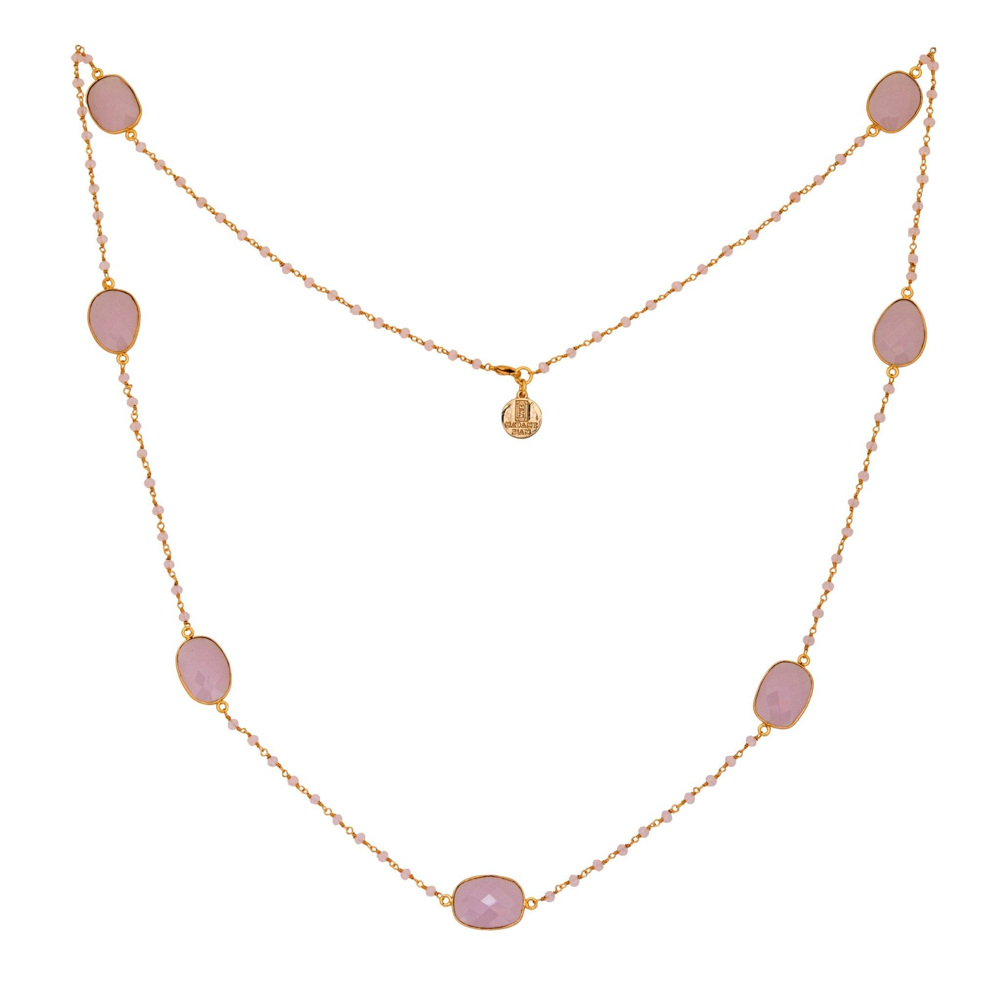 MOUSSON PERLEE rose quartz station necklace with rosary chain